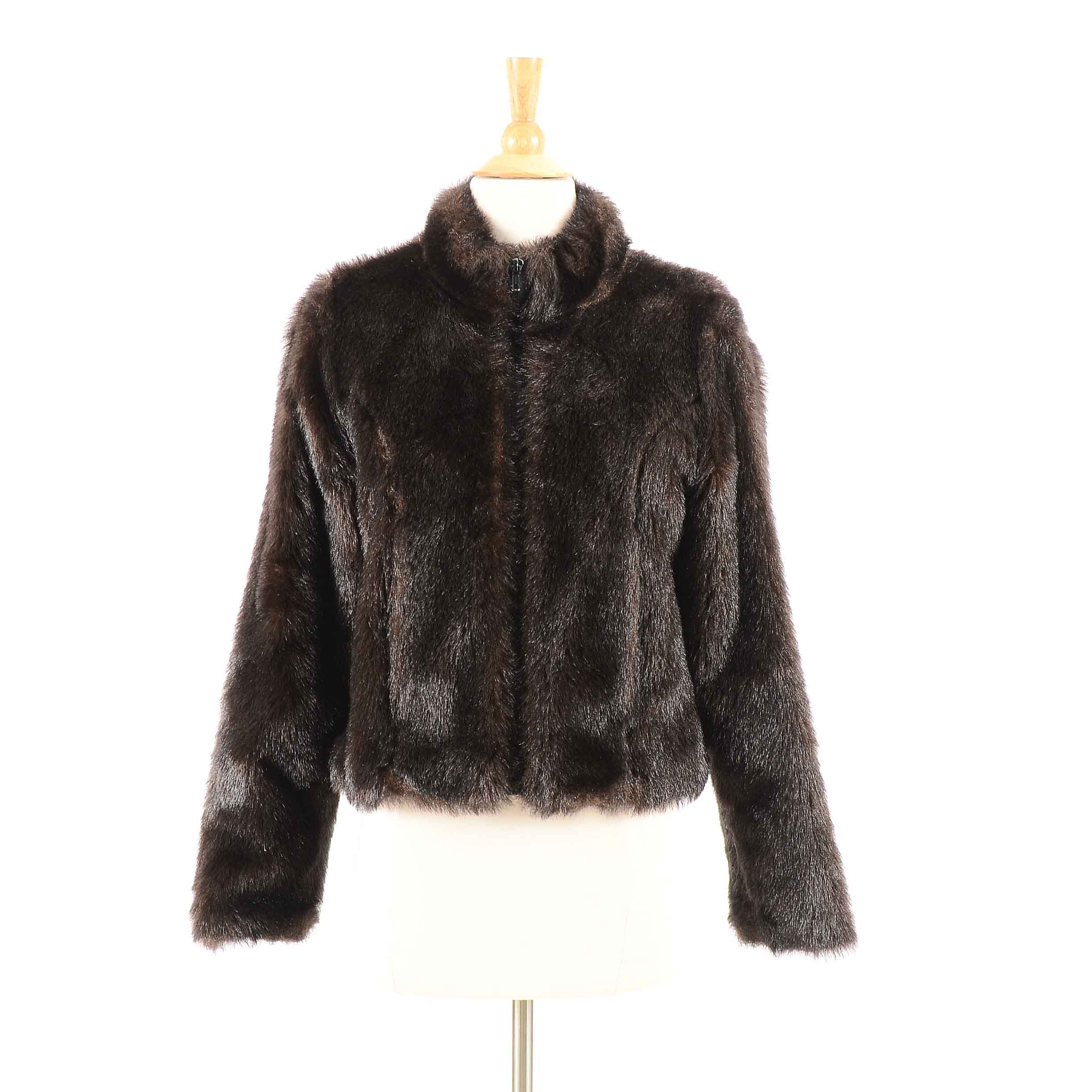 Women's Brown Faux Fur Coat by Karen Kane