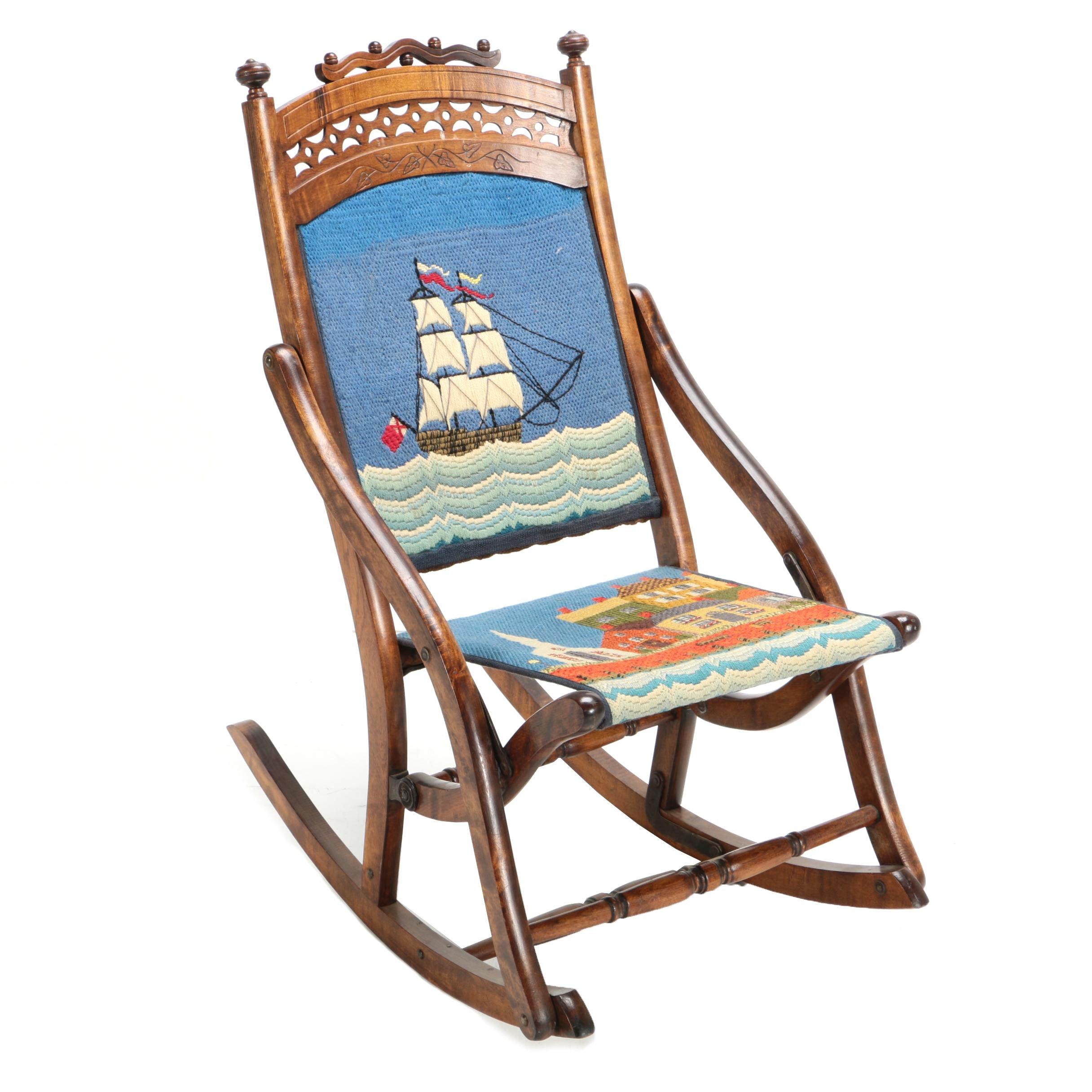 Antique Late Victorian Children's Needlepoint Folding Rocking Chair