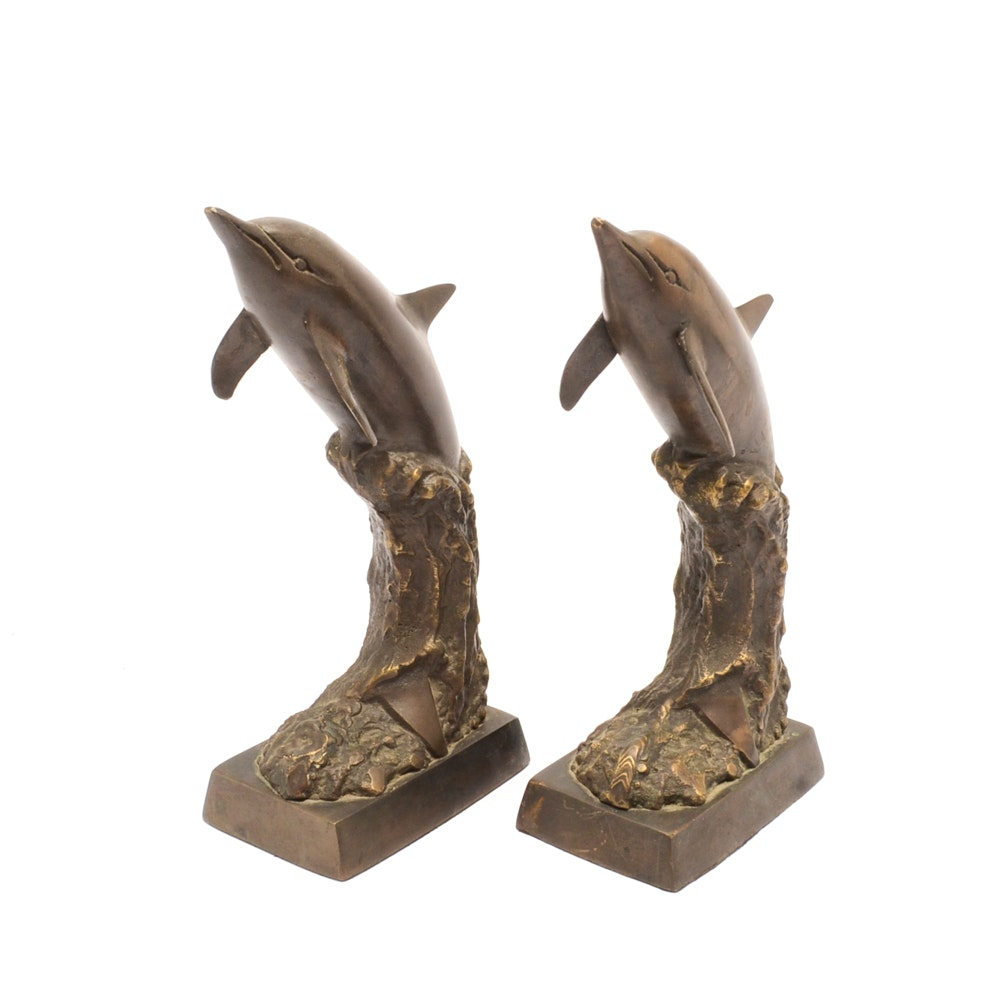 Leaping Dolphin Metal Bookends