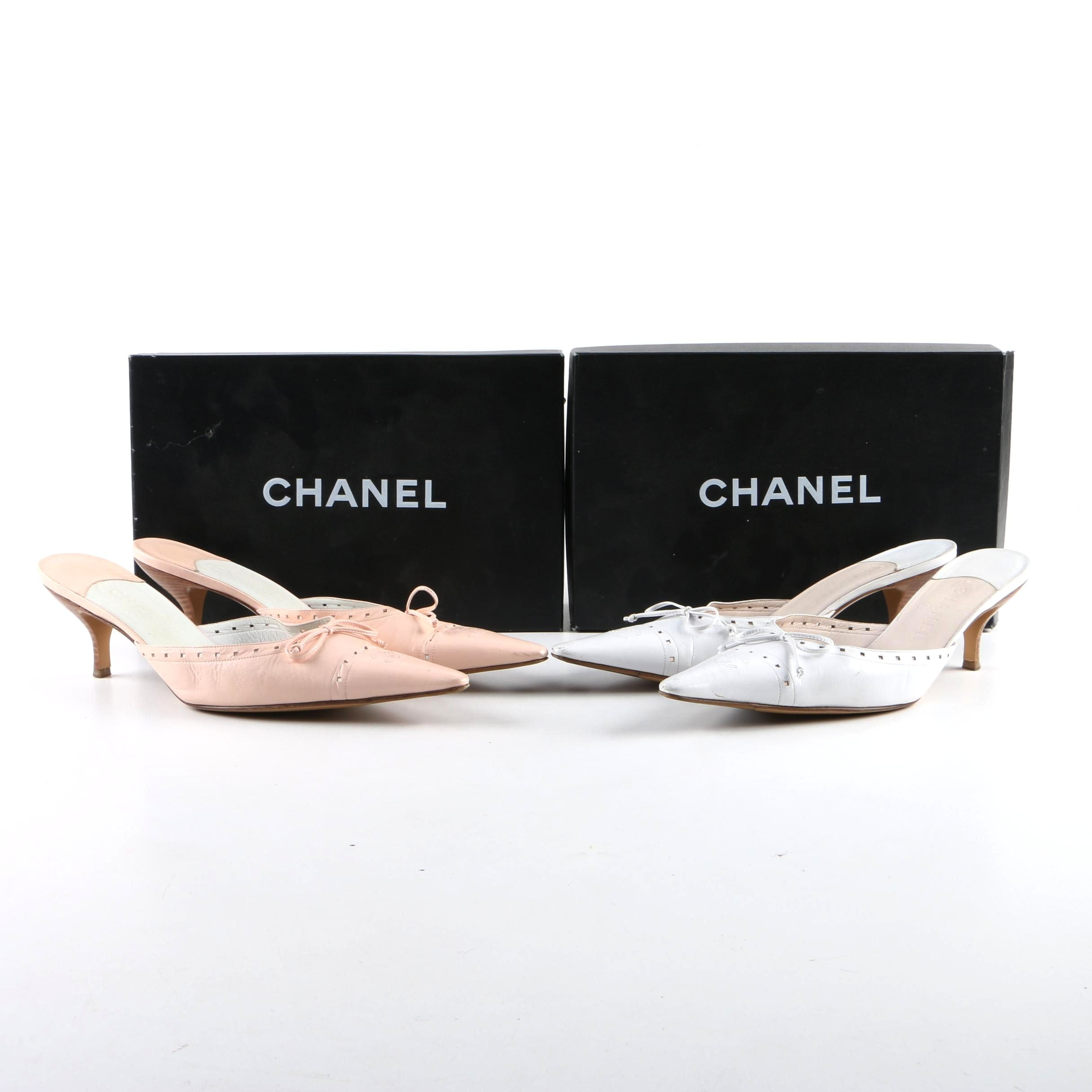 Chanel Leather Kitten Heel Mules in Blush and White Leather with Original Boxes