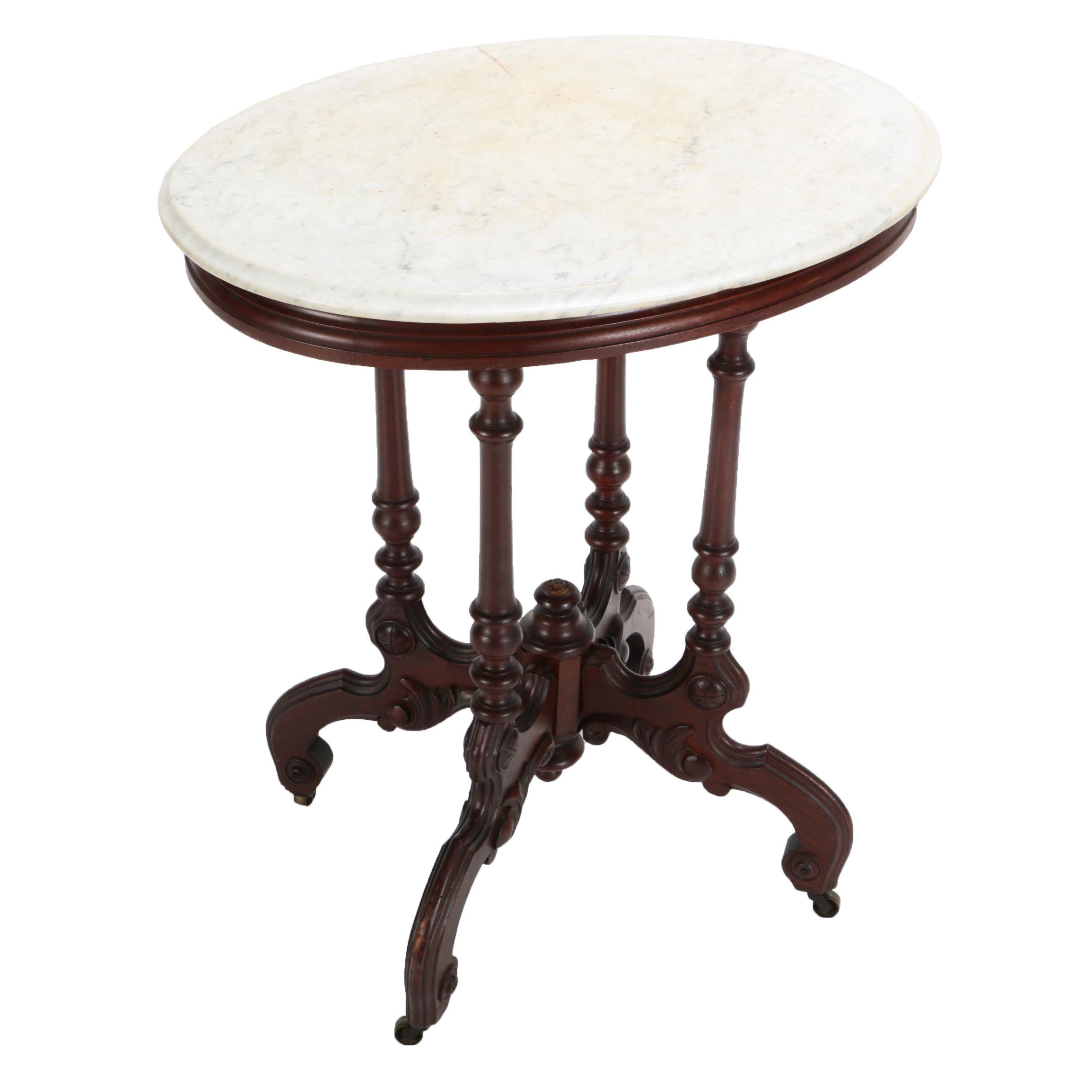 Vintage Eastlake Style Marble Top Accent Table