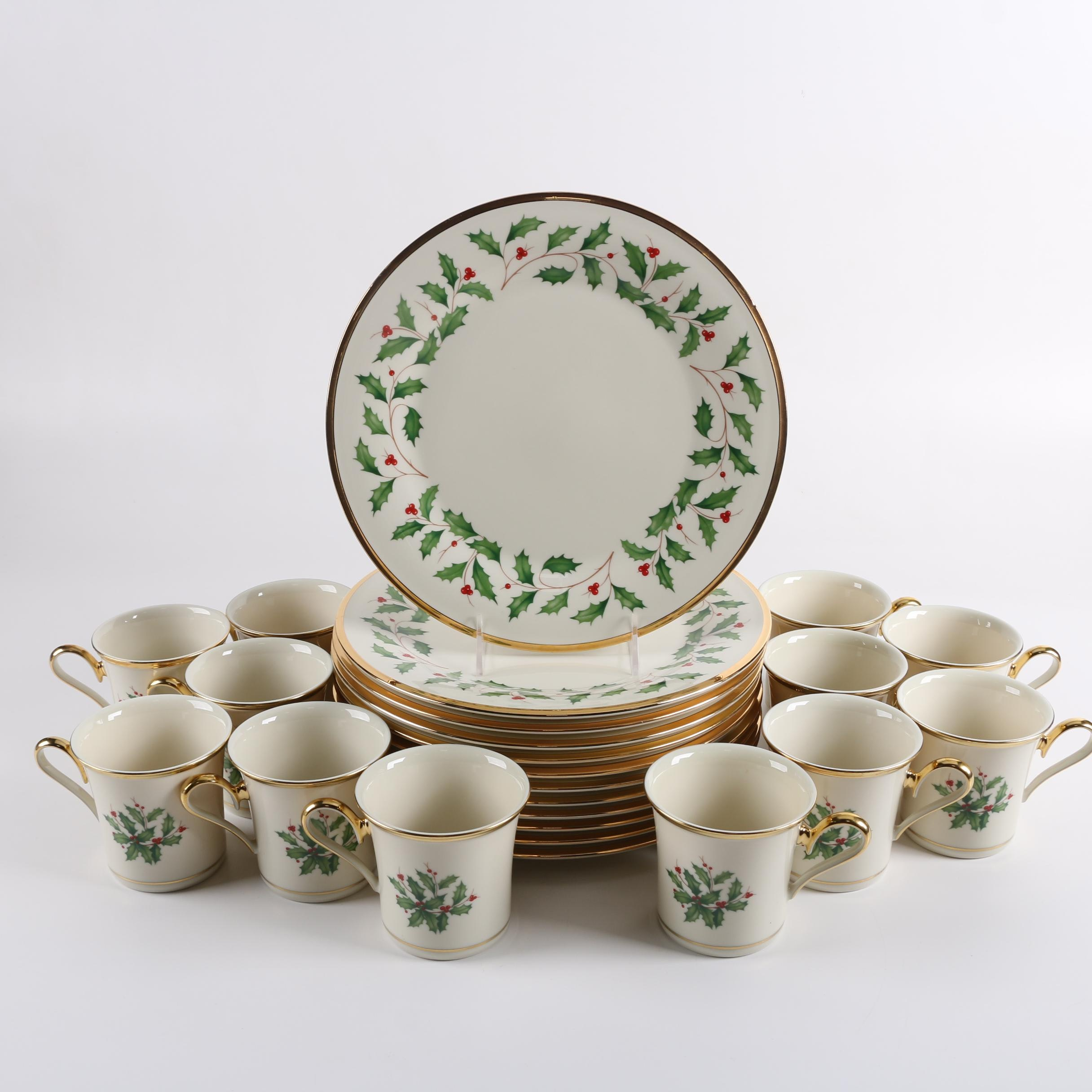 """Lenox """"Holiday"""" China Dinner Plates and Coffee Cups"""