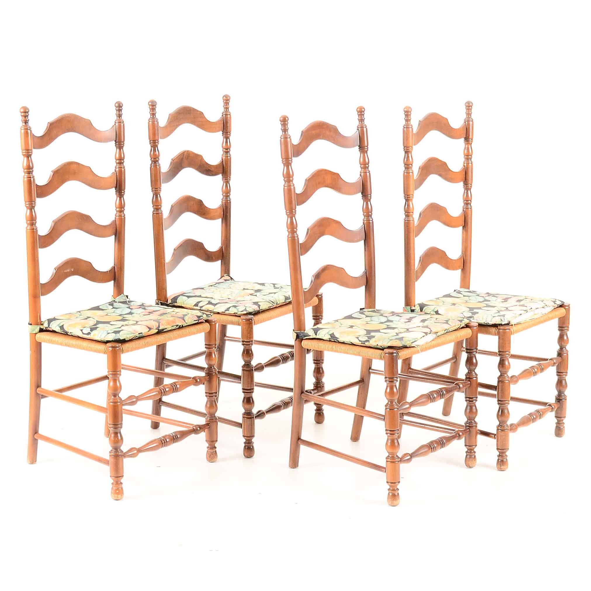 Set of Four Cherry Ladder Back Chairs