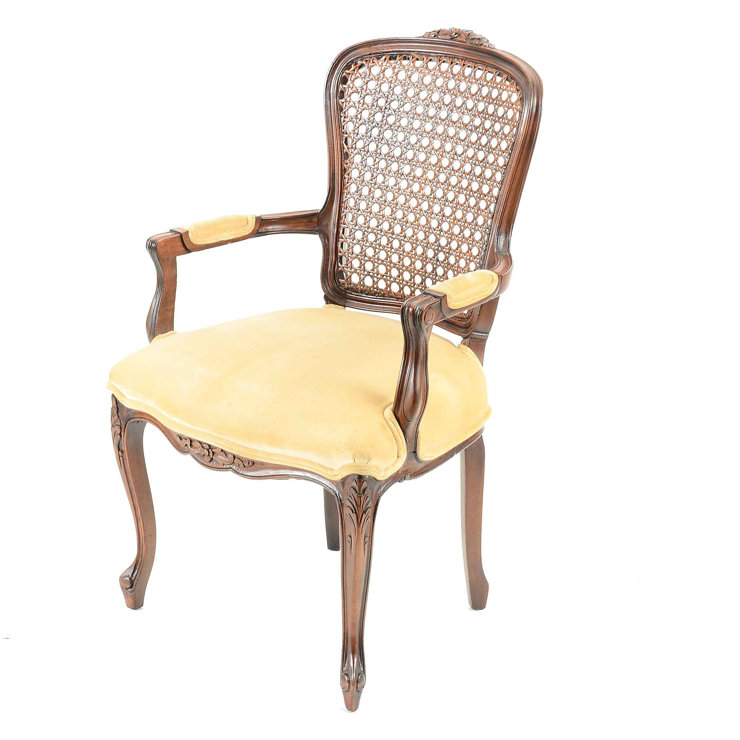 Louis XV Style Caned Back Armchair