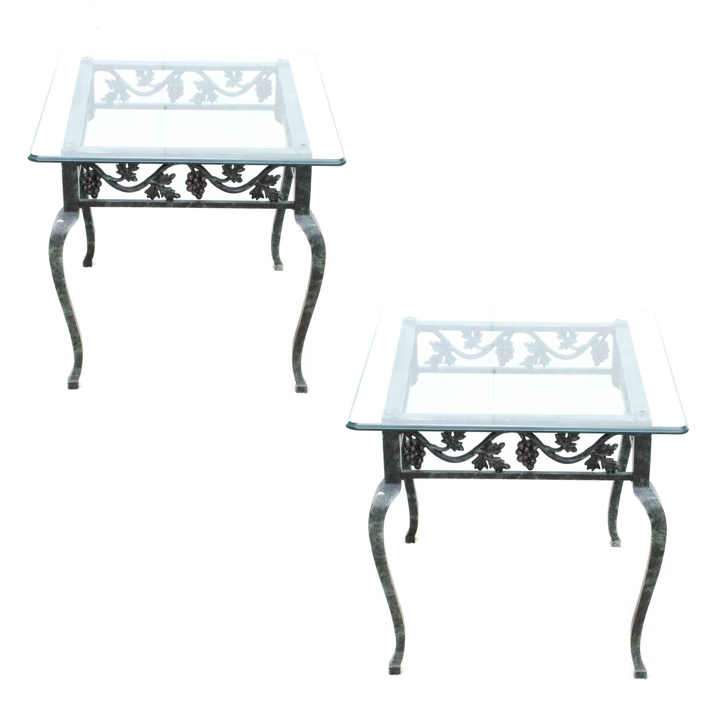 Pair of Glass Top Patio Side Tables