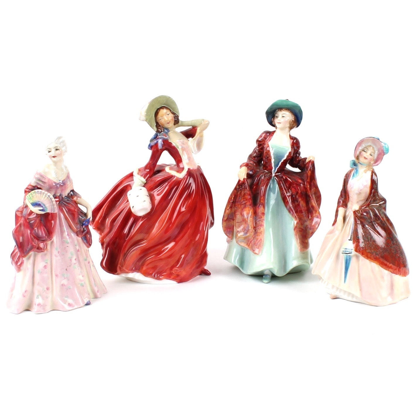 "Royal Doulton Porcelain Figurines ""Fleurette"", ""Autumn Breezes"", ""Paisley Shawl"""