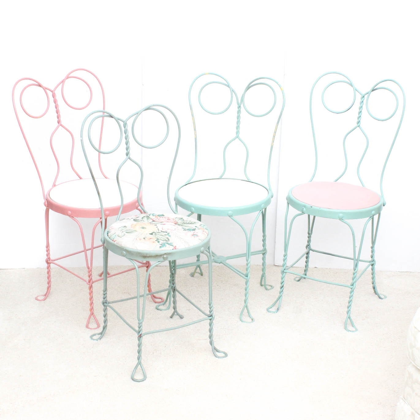 Four Wrought Metal Ice Cream Parlor Chairs