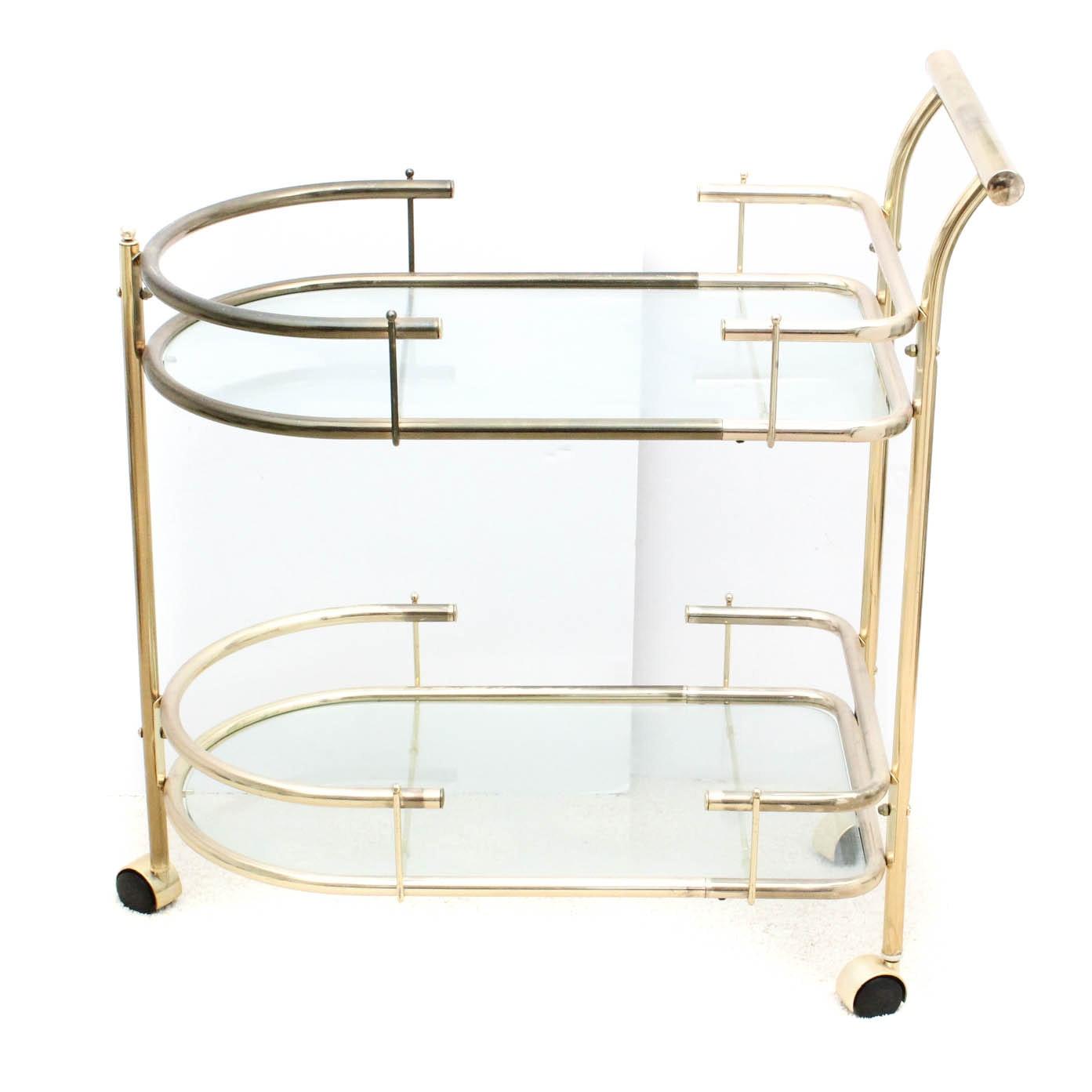 Vintage Metal and Glass Bar Cart