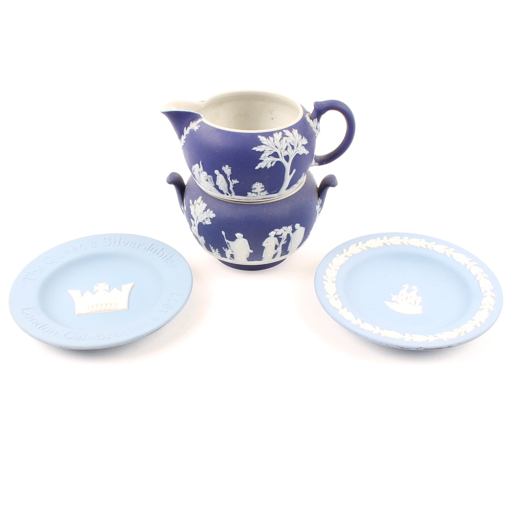 Wedgwood Jasperware Collectible Plates and Cream and Sugar