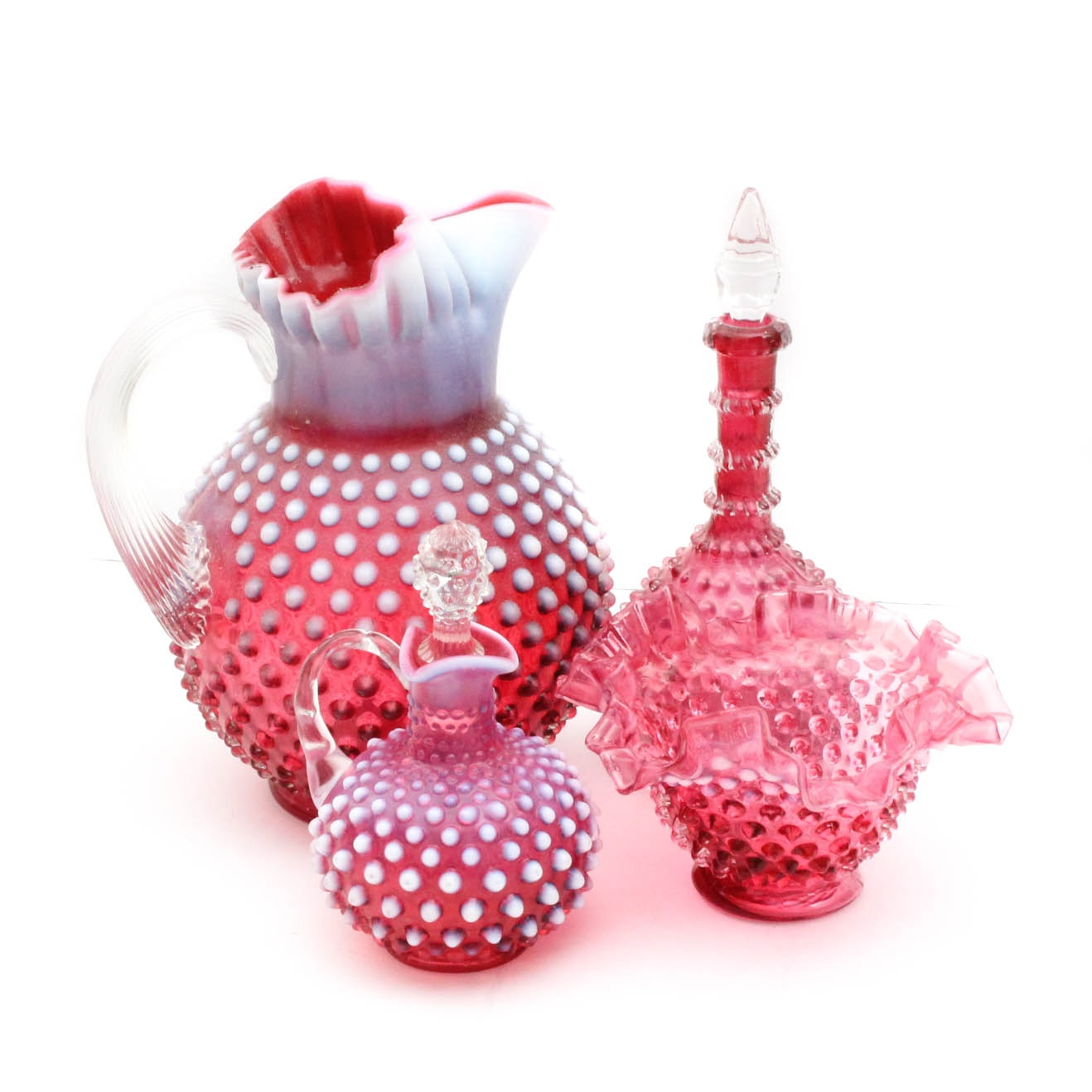 "Vintage Opalescent Cranberry ""Hobnail"" Glass Tableware"