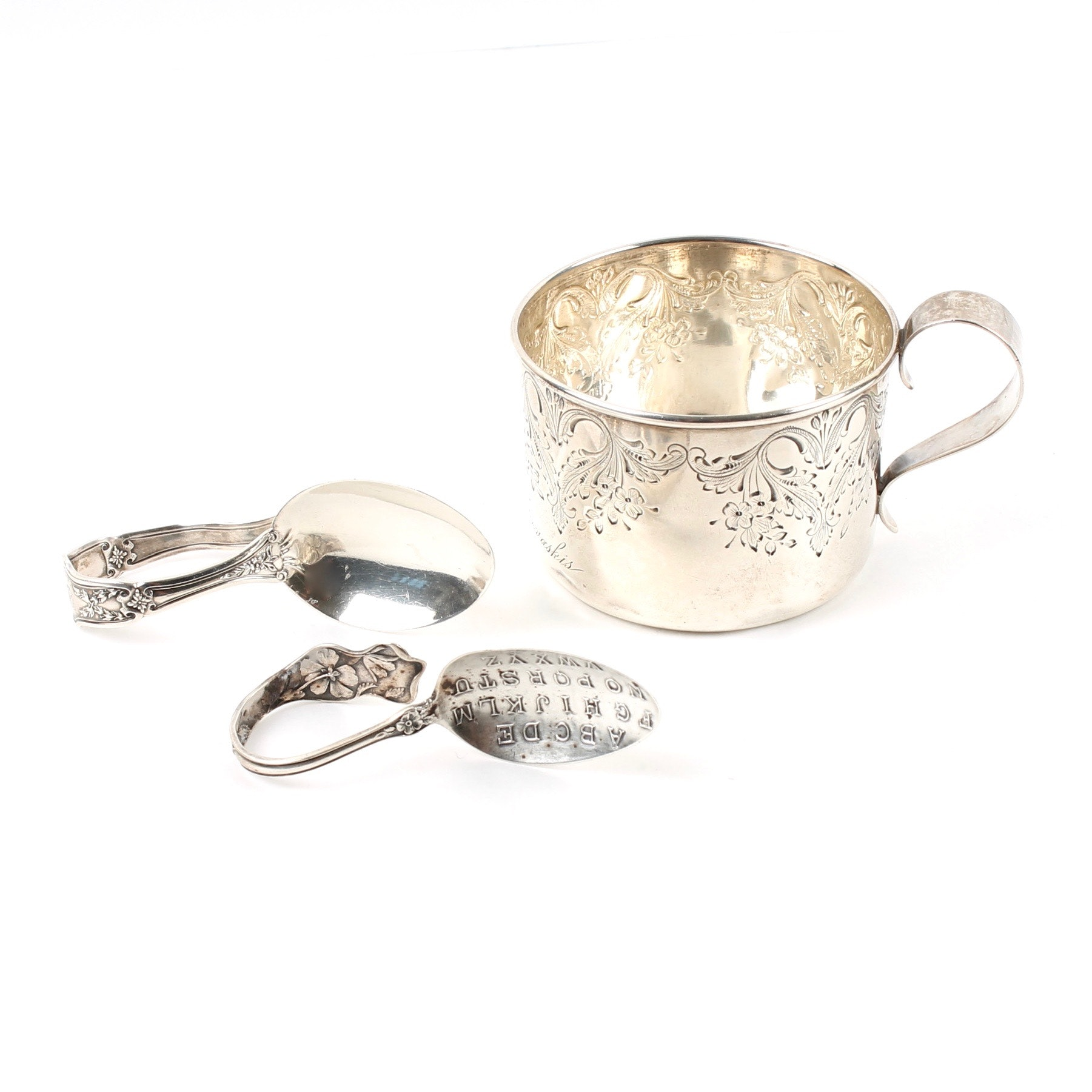 Vintage Sterling Silver Cup and Spoons