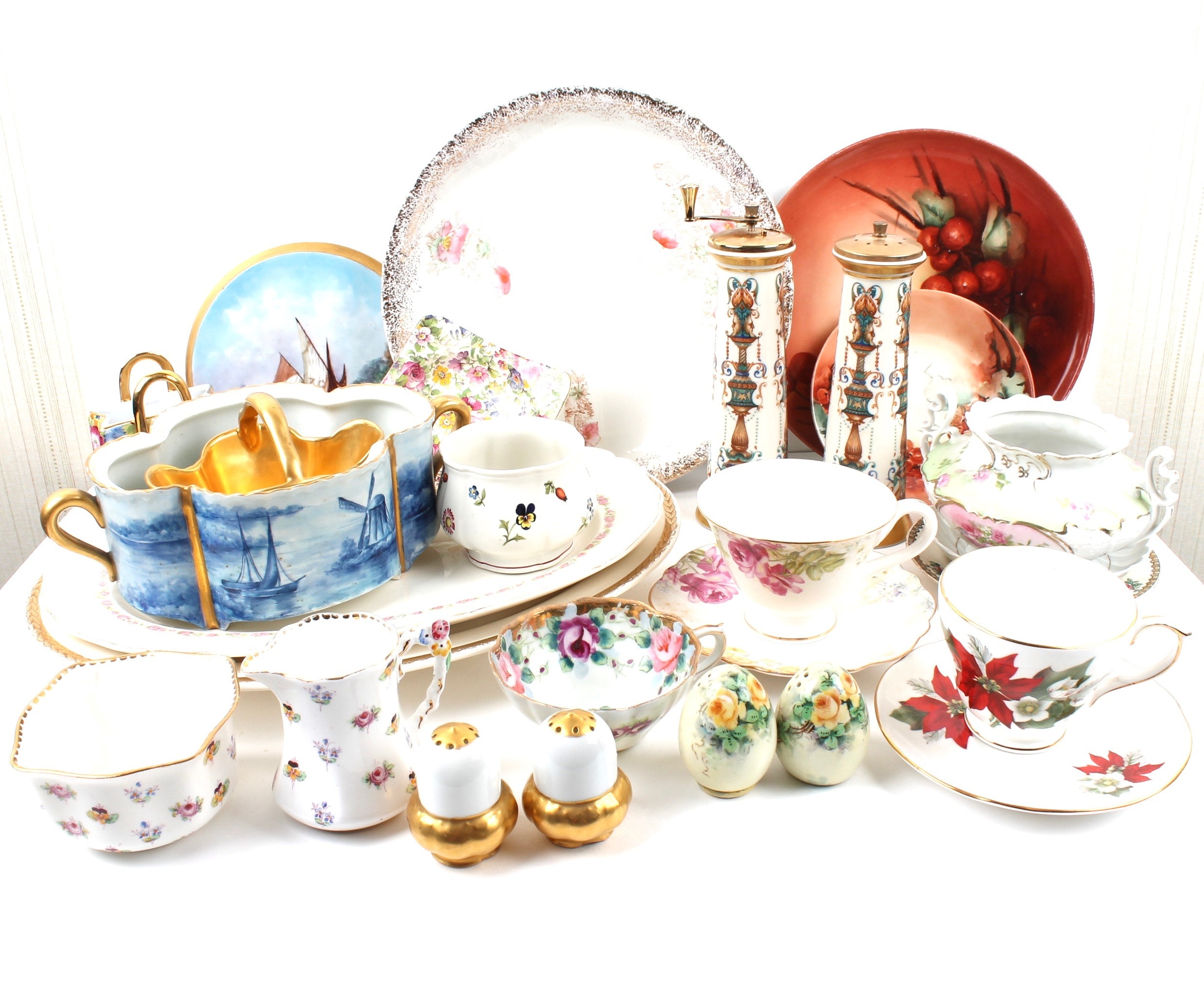 Antique and Vintage Porcelain Tableware Including Limoges