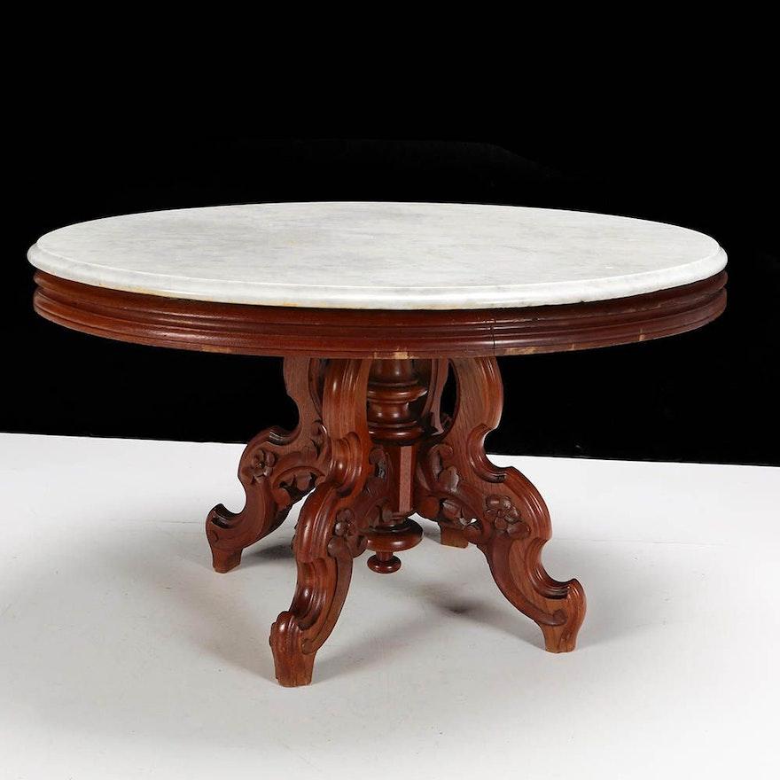 Vintage Victorian Eastlake Style Marble Top Coffee Table