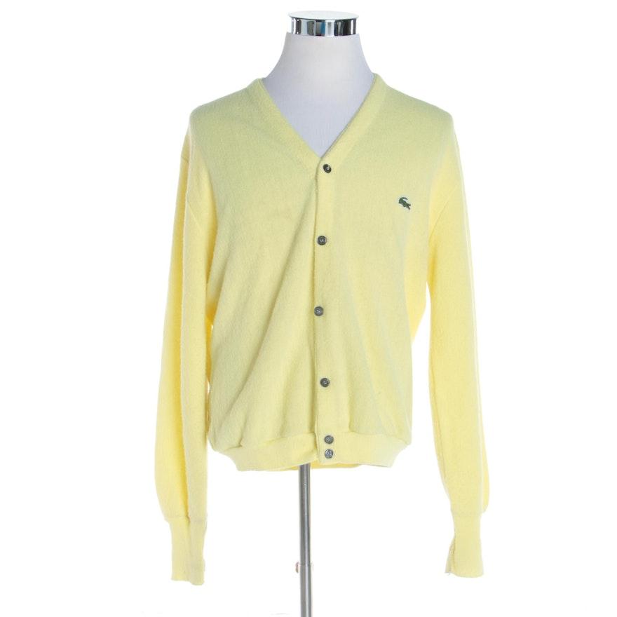 cb42de27c3074 Men's Vintage Izod Lacoste Yellow Wool Blend Knit Cardigan