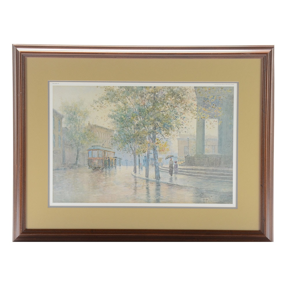 "Limited Edition Offset Lithograph Print after Paul Sawyier ""Main Street Trolley"""