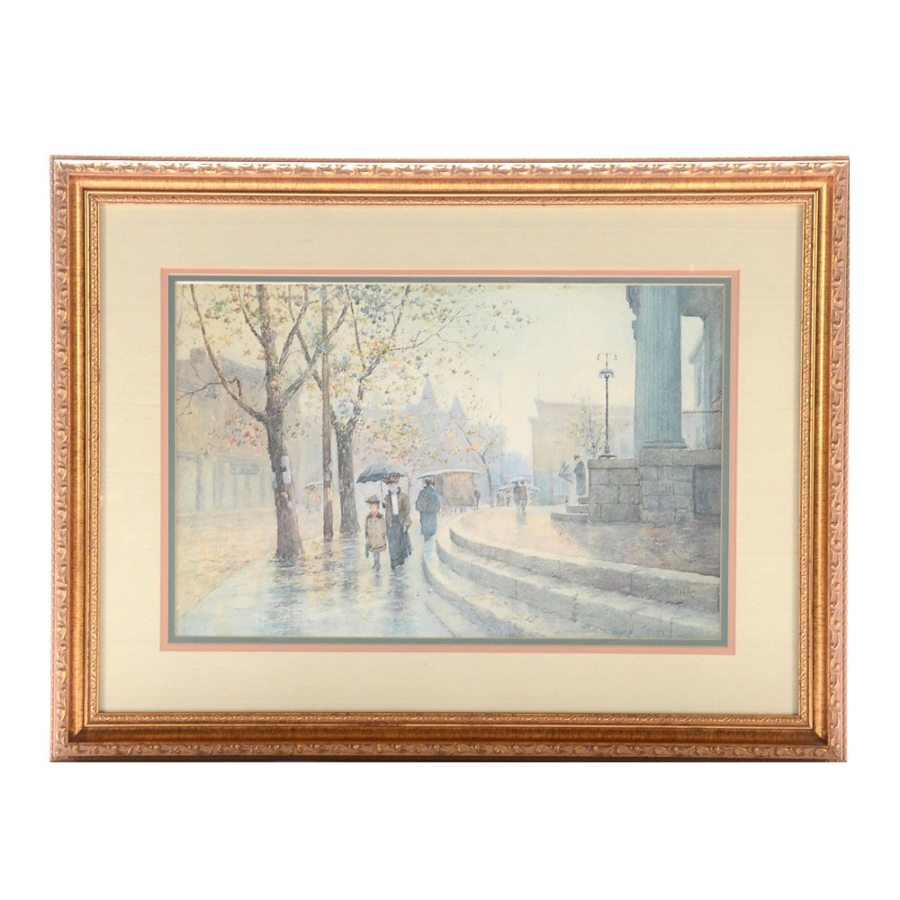 "Limited Edition Offset Lithograph after Paul Sawyier ""Walking in the Rain"""