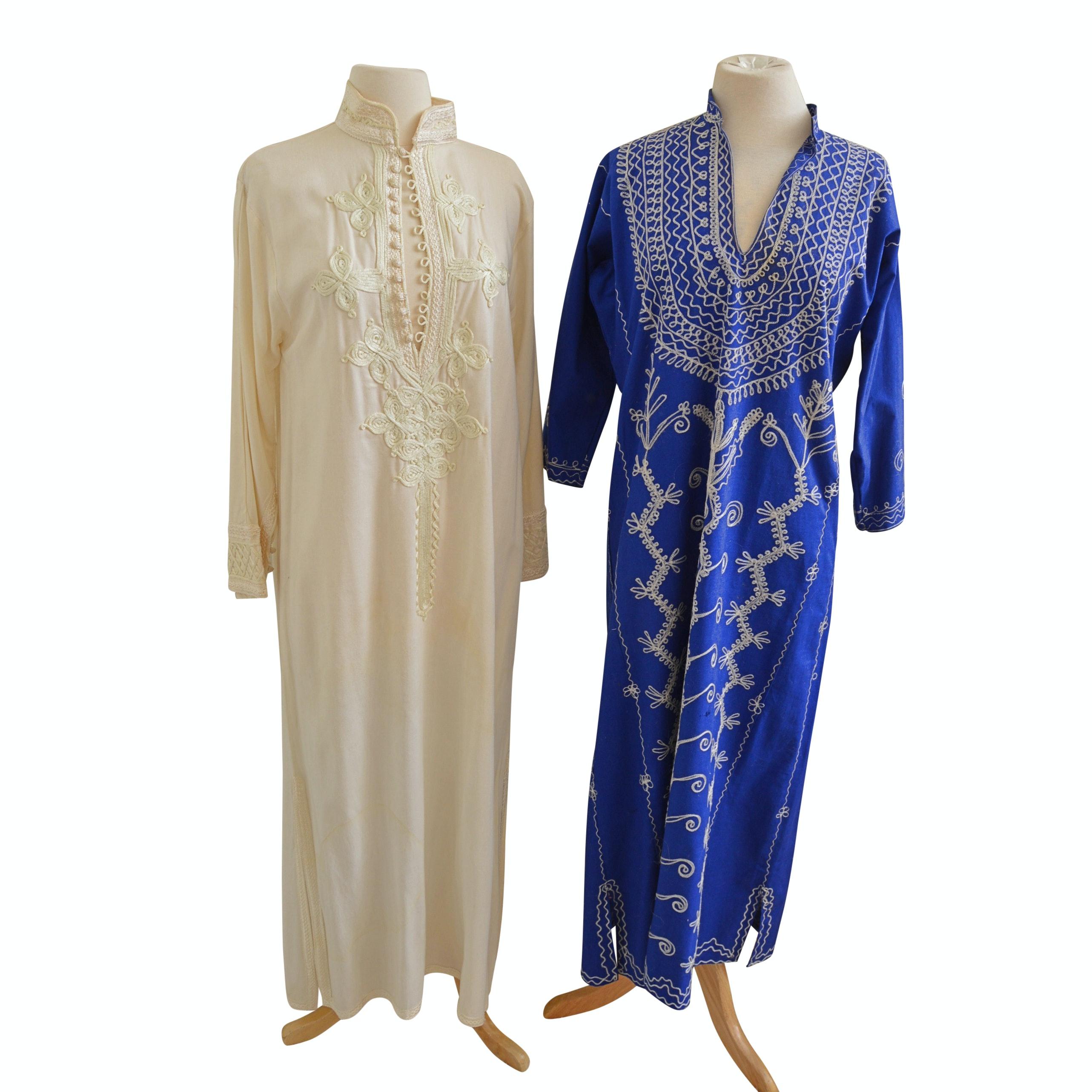 1970s Vintage Saks Morocco Caftan and Embroidered Blue Caftan