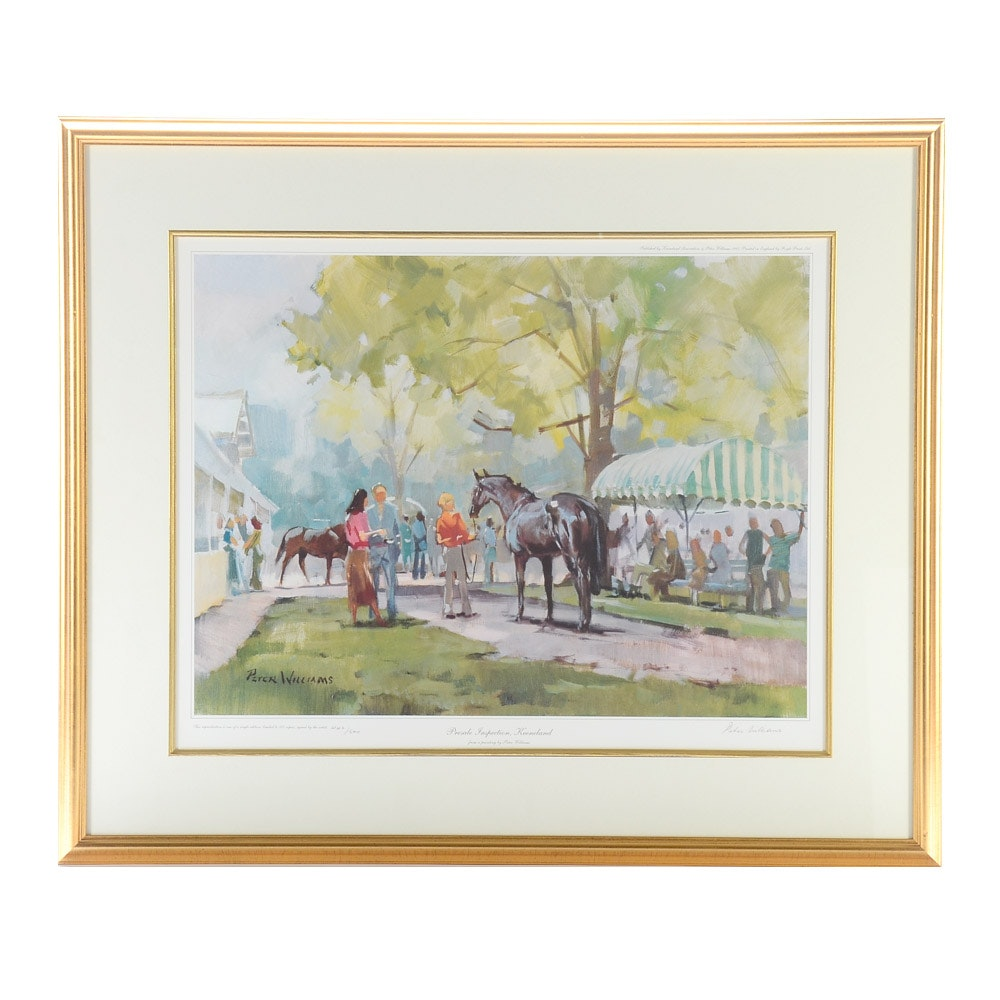 """Peter Williams Limited Edition Offset Lithograph """"Presale Inspection, Keeneland"""""""