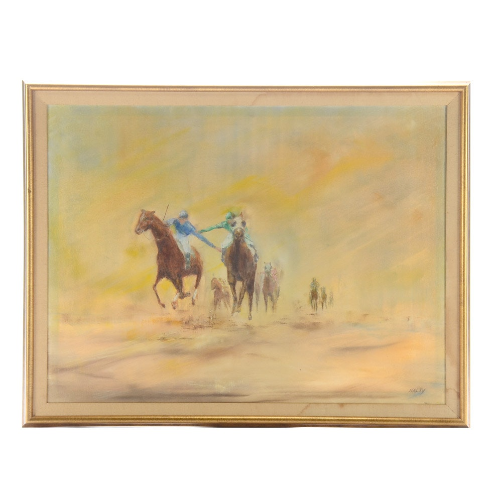 Signed Oil Painting on Canvas of Horse Race