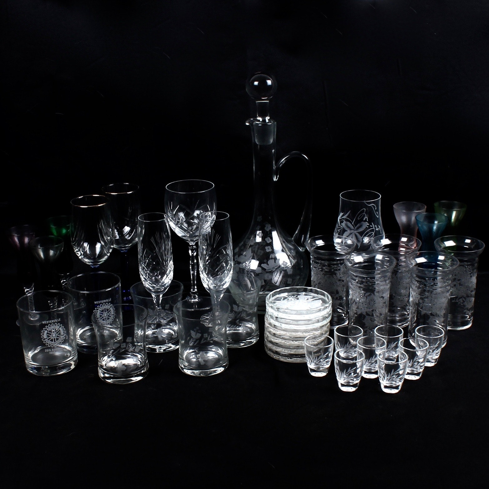 Vintage Glass and Crystal Stemware and Barware
