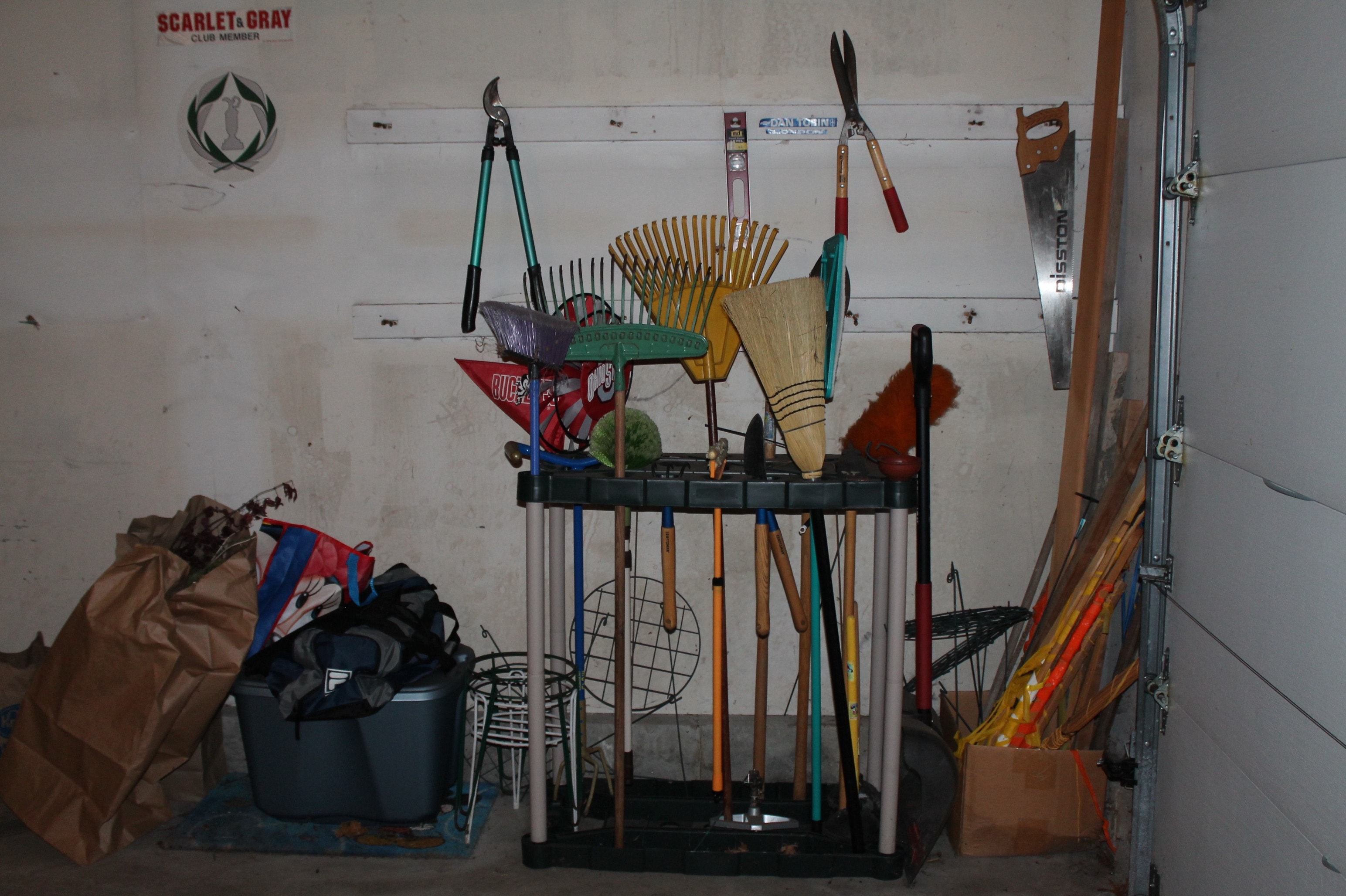 Yard Tools with Rubbermaid Organizer
