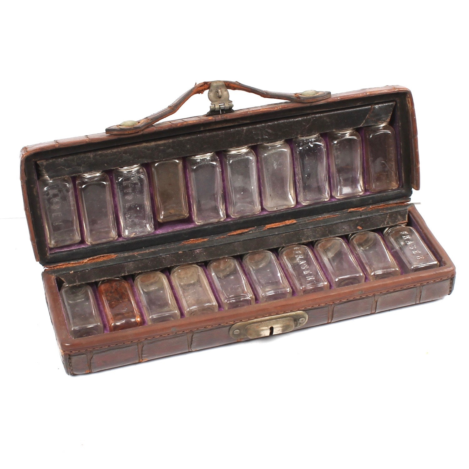 Antique Medicine Bottles with Physician's Carrying Case
