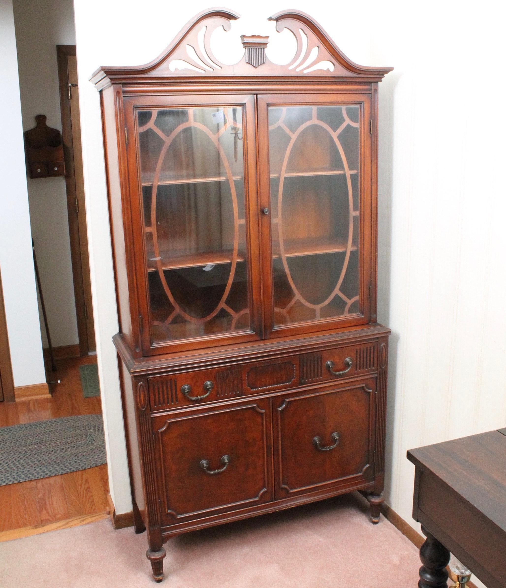 Vintage Federal Style Mahogany Veneer China Cabinet