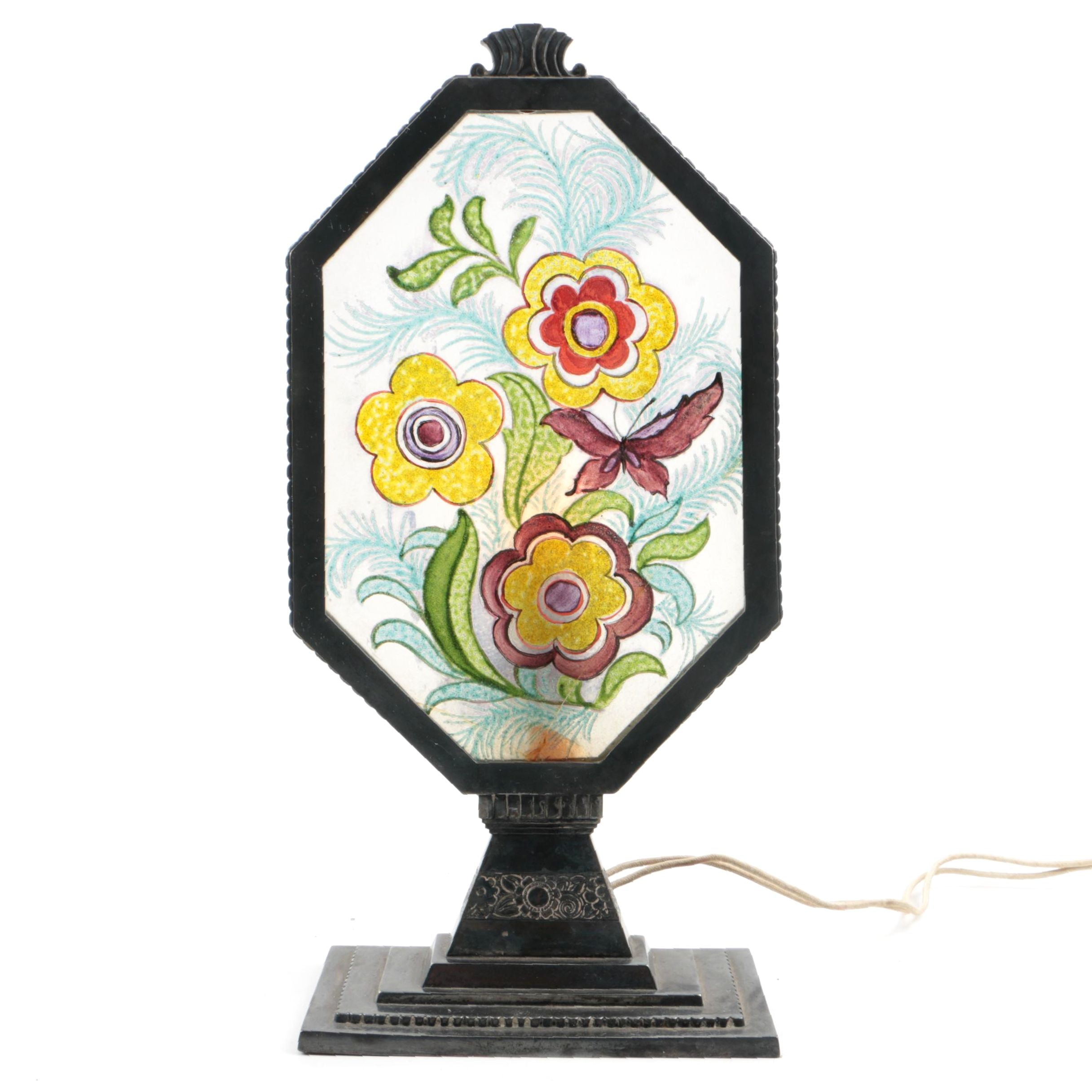 Pairpoint Radio Lamp with Floral Painted Glass Panel