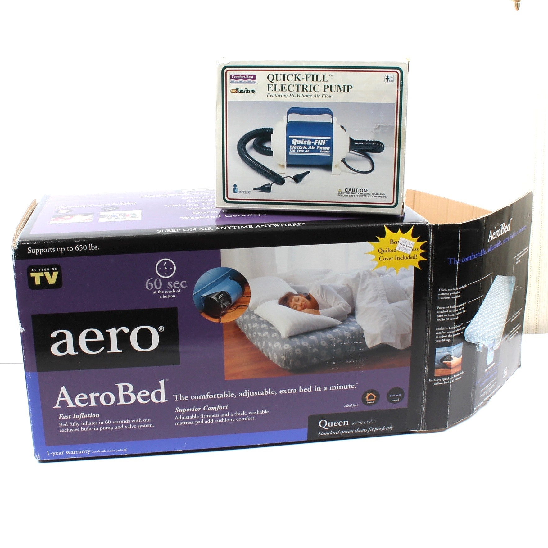AeroBed Queen Size Air Mattress and Quick-Fill Electric Pump