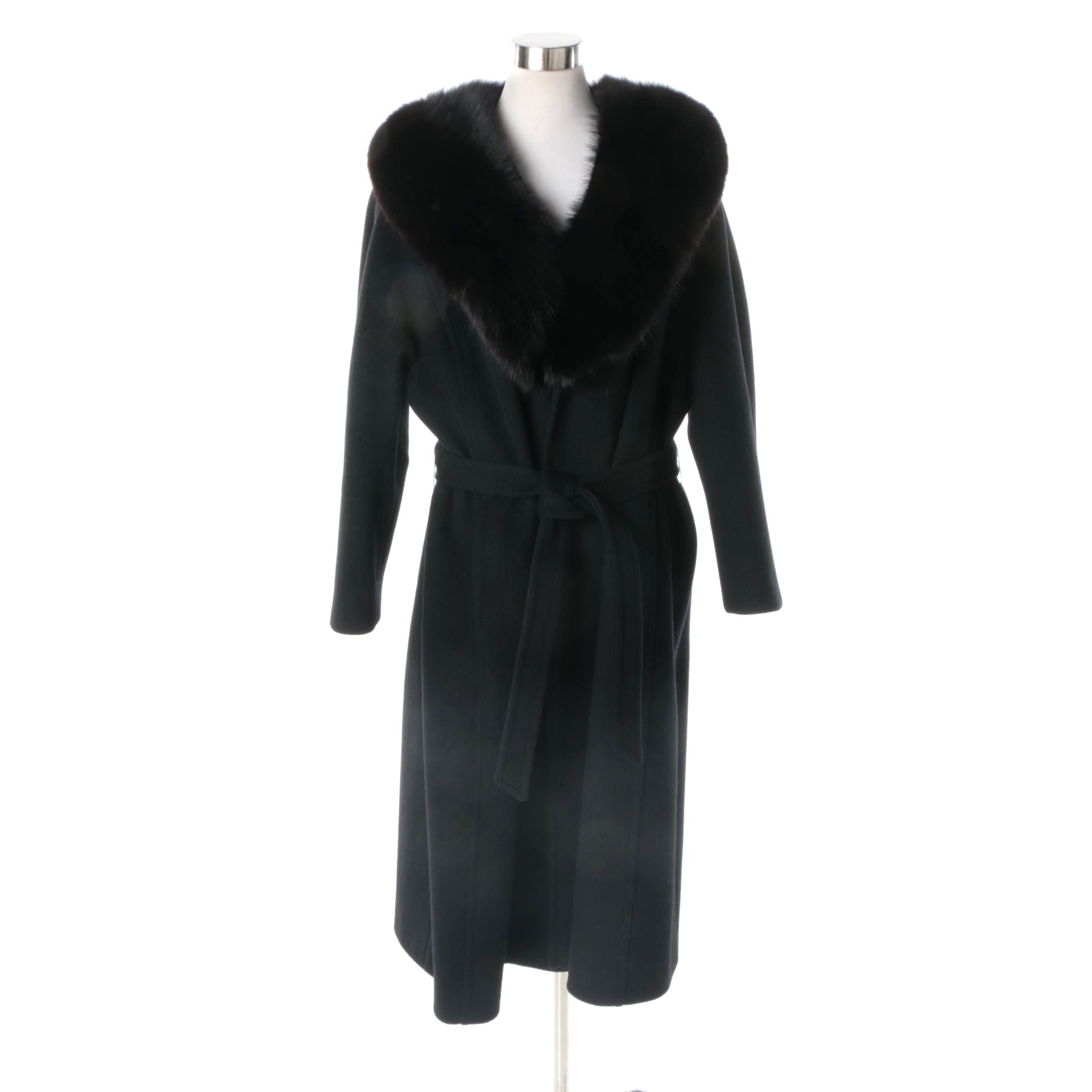 Women's Vintage Windermere Black Wool Coat with Fox Fur Collar