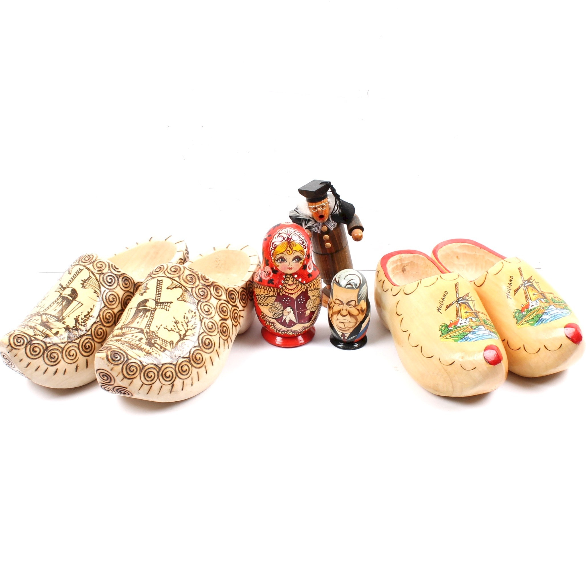 Handcrafted Wood Shoes, Matryoshka Dolls, and German Figural