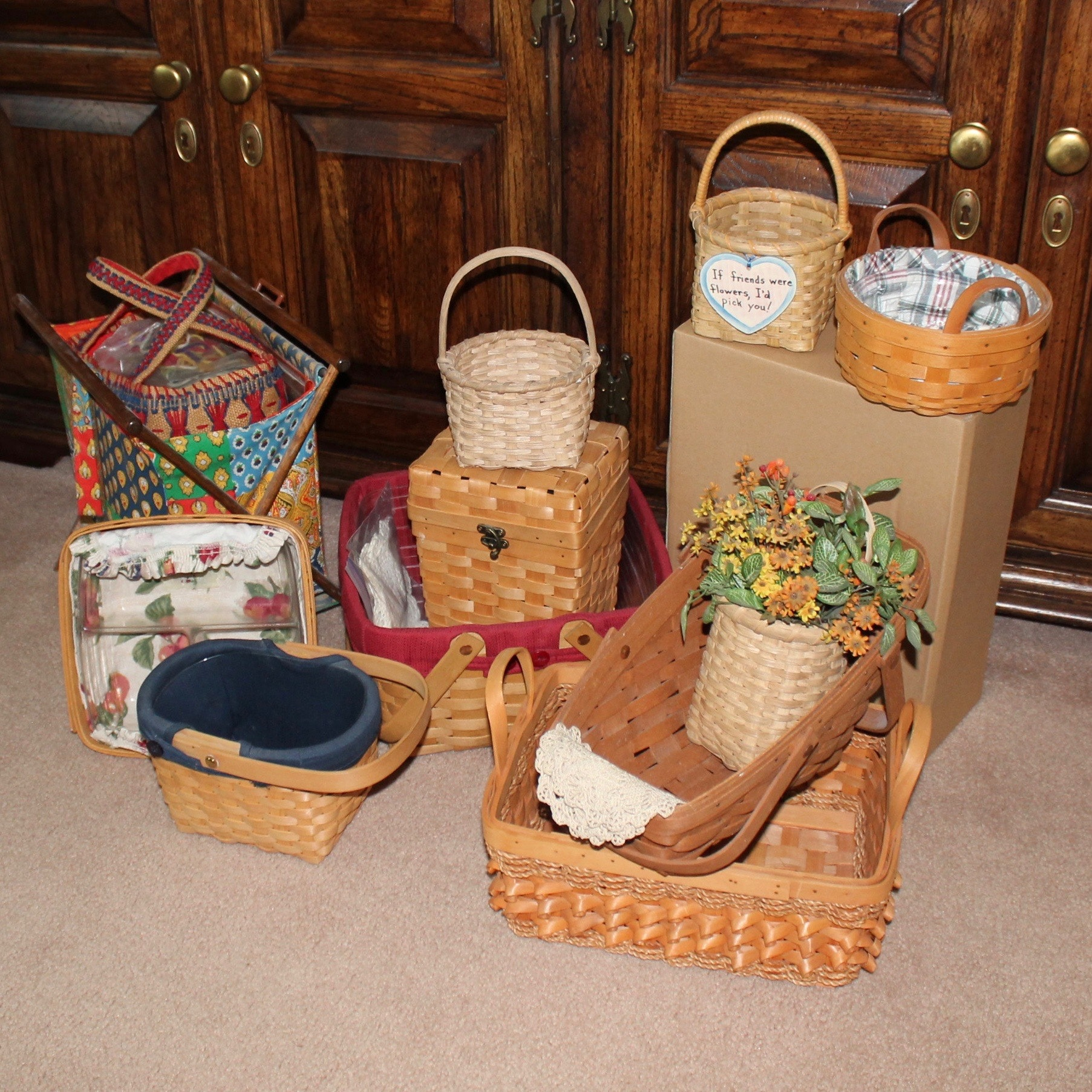 Woven Baskets Featuring Longaberger and Vintage Knitting Basket