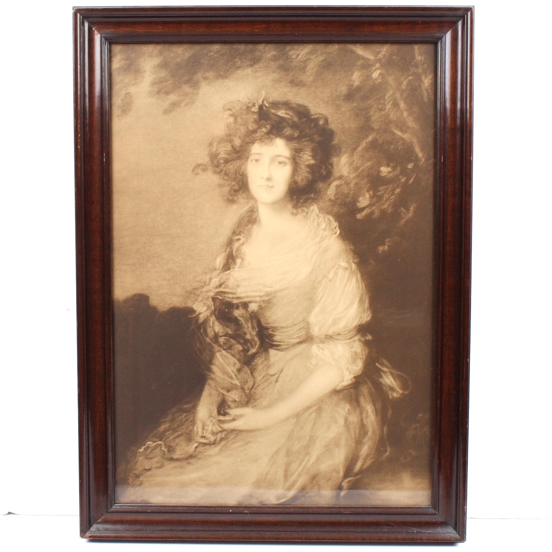"Antique Lithograph Print After ""Mrs. Richard Brinsley Sheridan"""