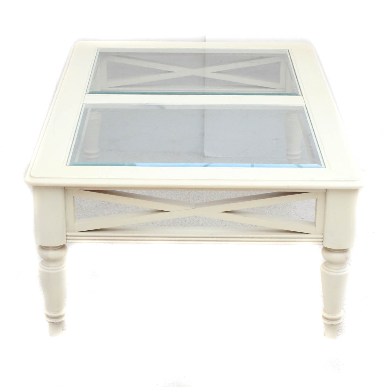 Glass top Painted Wood Coffee Table