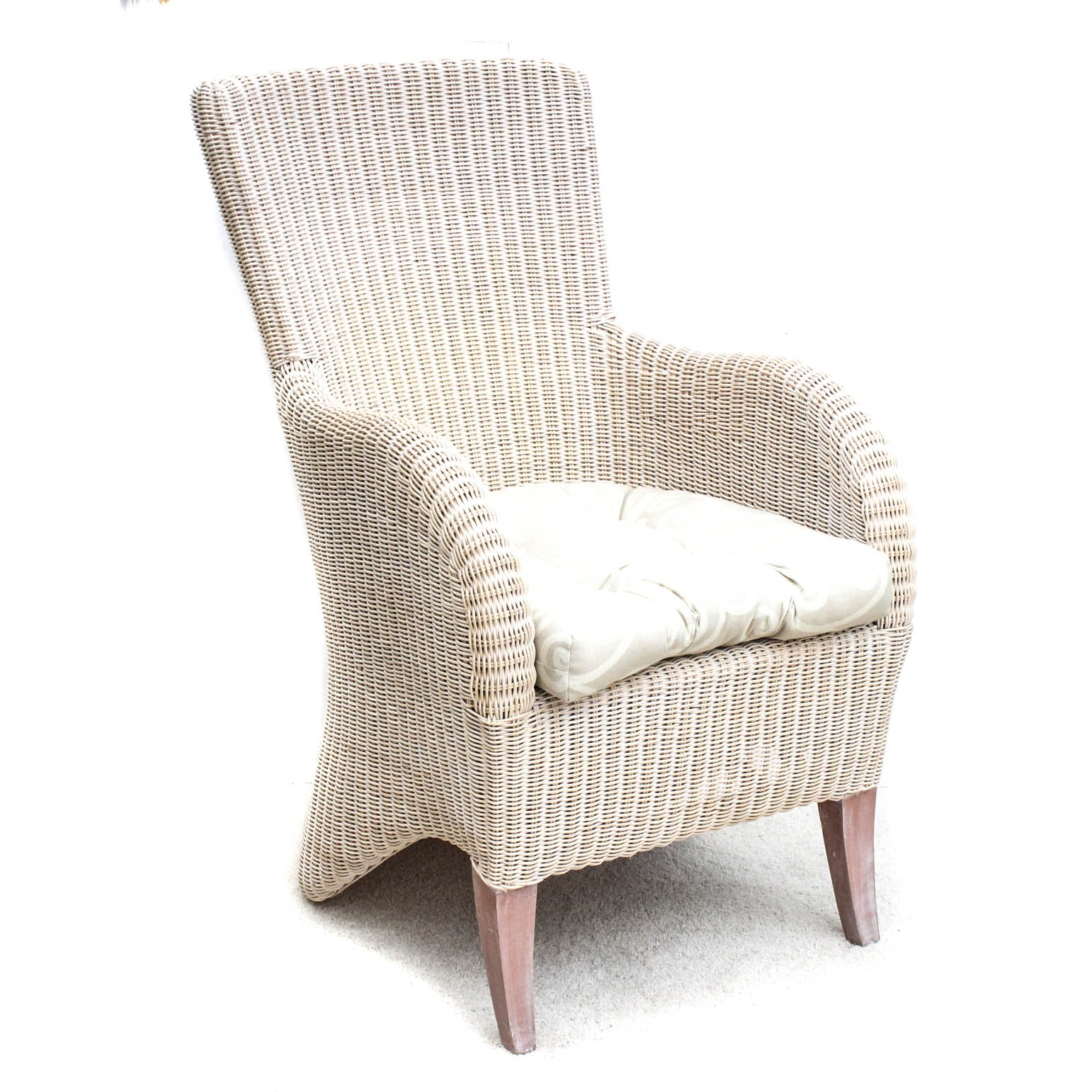Wood Frame Wicker Armchair