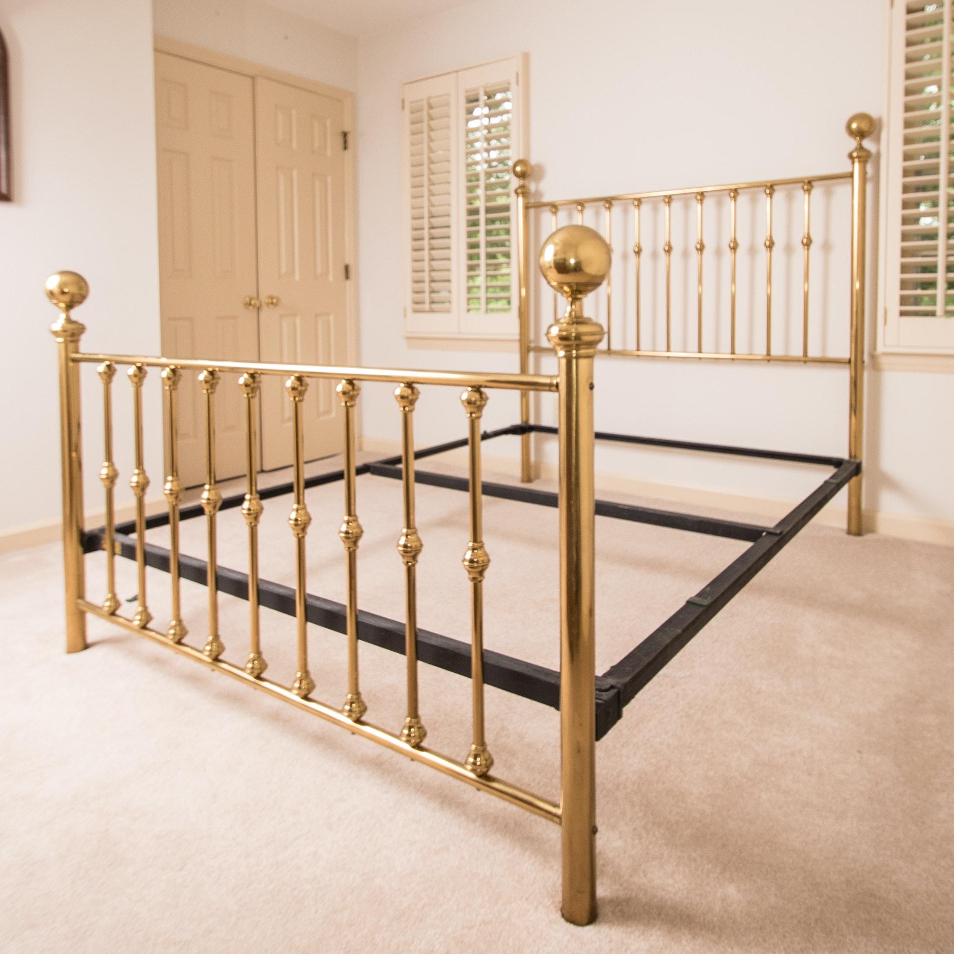 Vintage Queen Size Brass Bed Frame Ebth