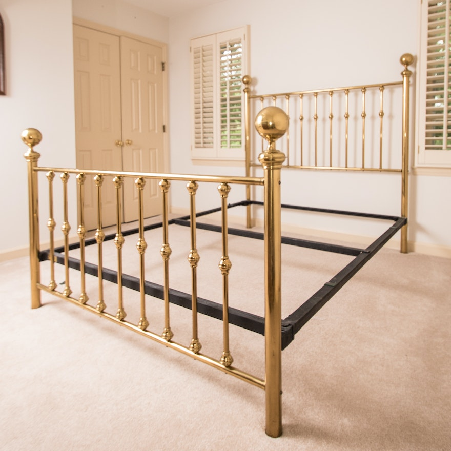 Vintage Queen Size Brass Bed Frame : EBTH