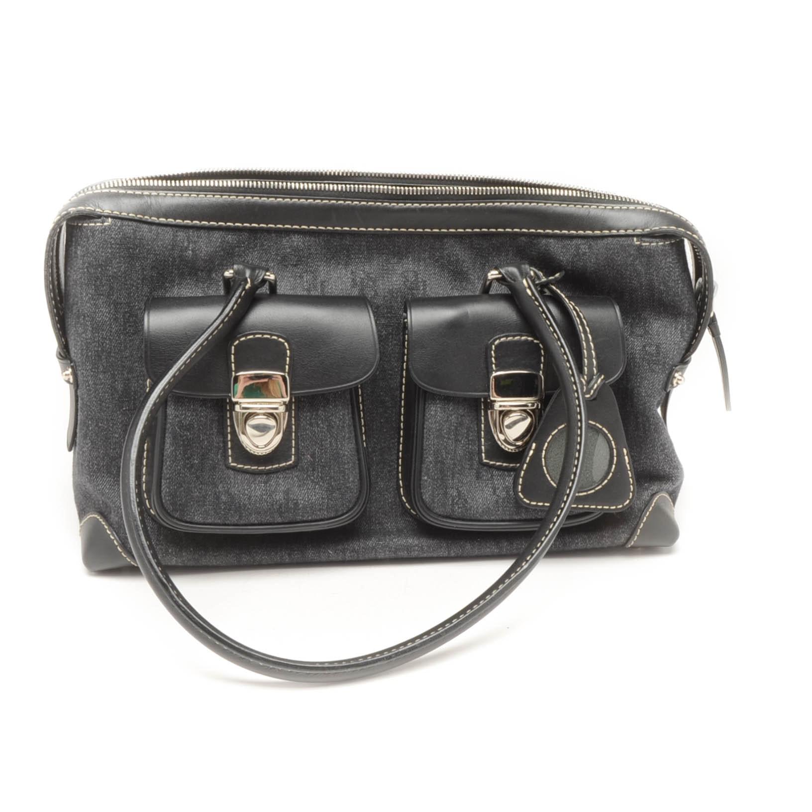 Dooney & Bourke Charcoal Denim and Black Leather Satchel