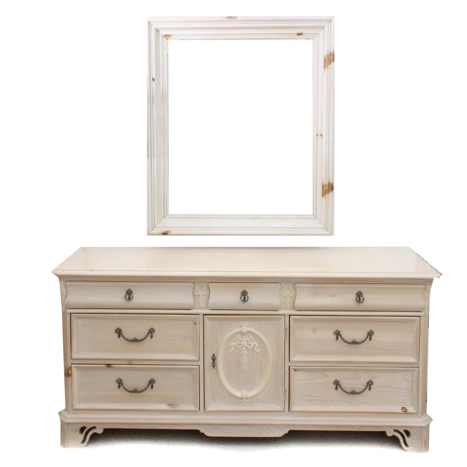 Rustic Wooden Dresser with Mirror
