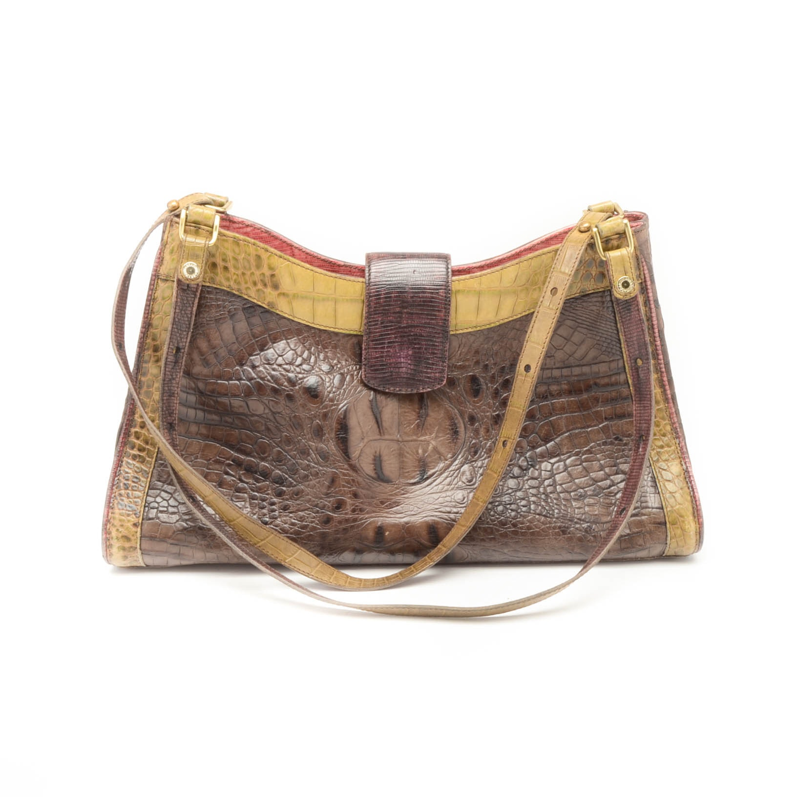 Brahmin Alligator Embossed Leather Satchel