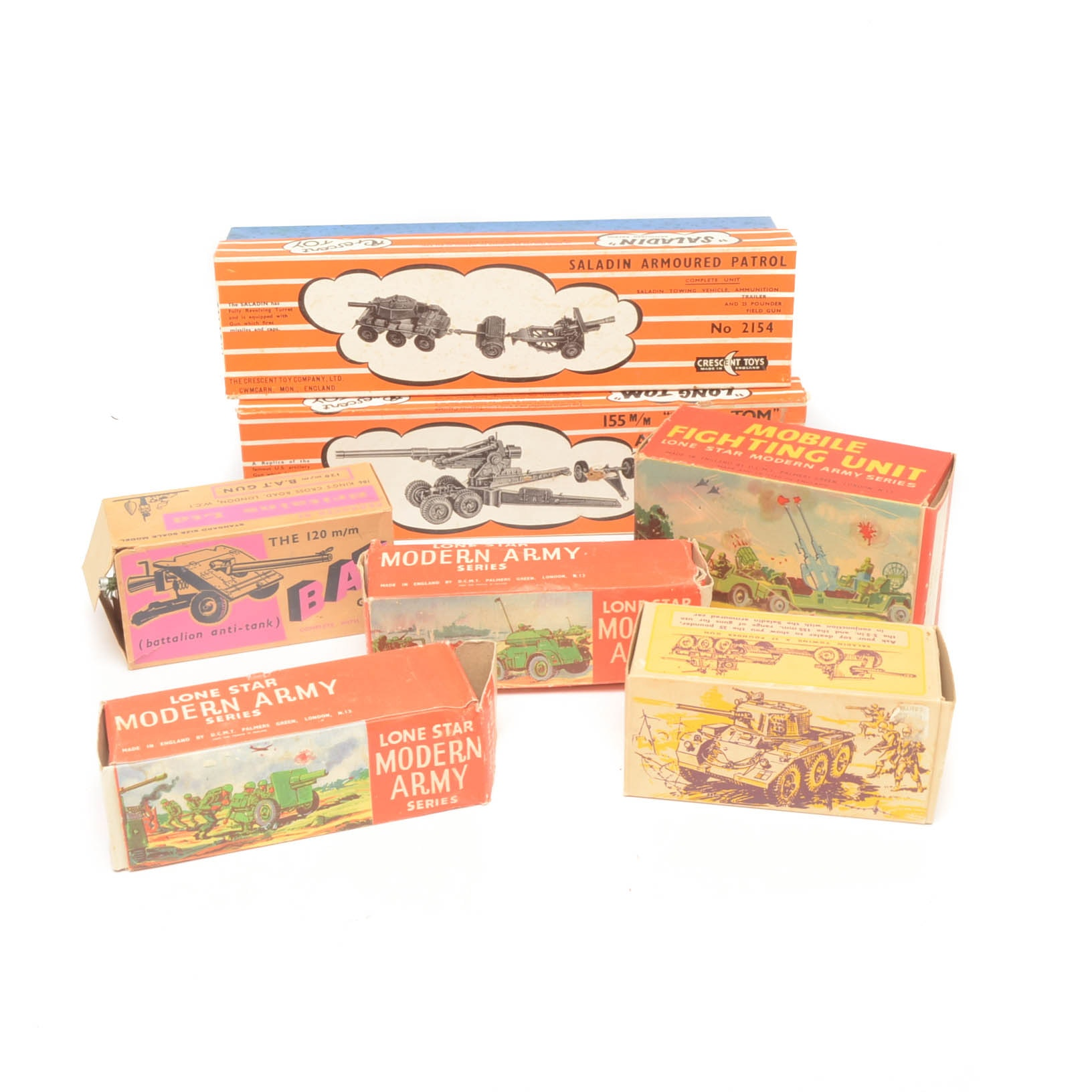 Collection of English Made Mid-Century Military Toys With Original Boxes