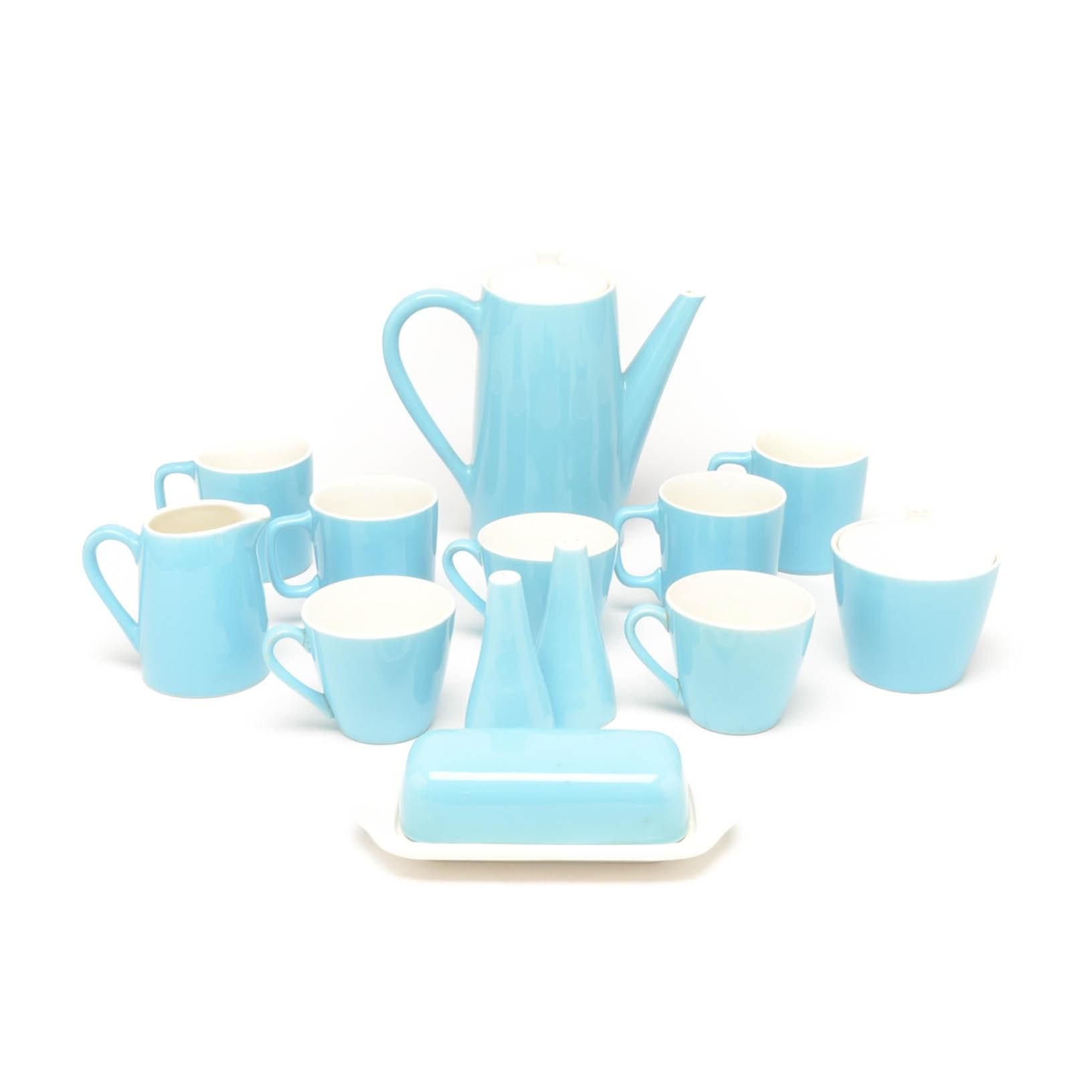 Turquoise Ceramic Mid Century Coffee and Tea Set