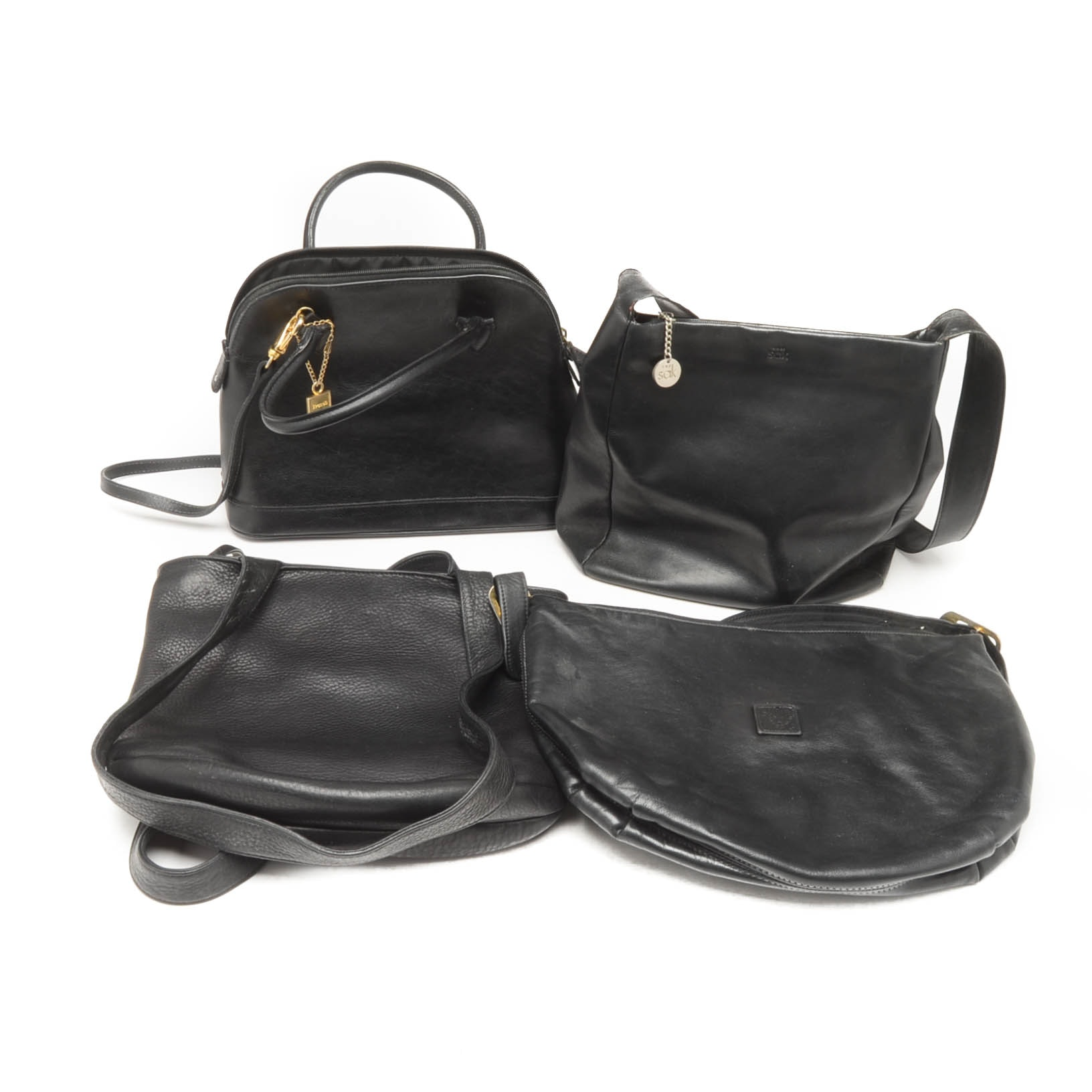 Collection of Vintage Black Leather Handbags