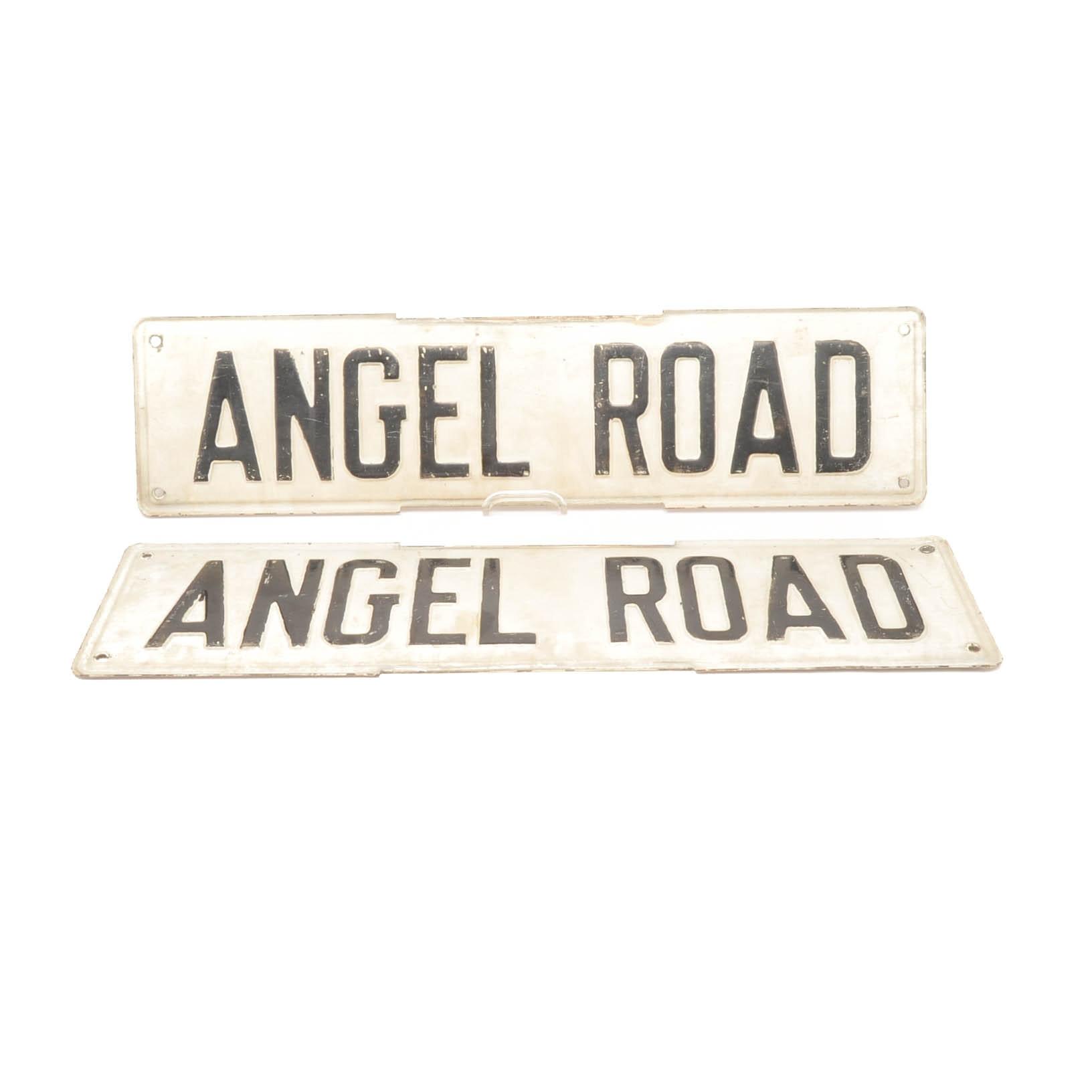 Pair of Vintage Metal and Enamel Angel Road Road Signs