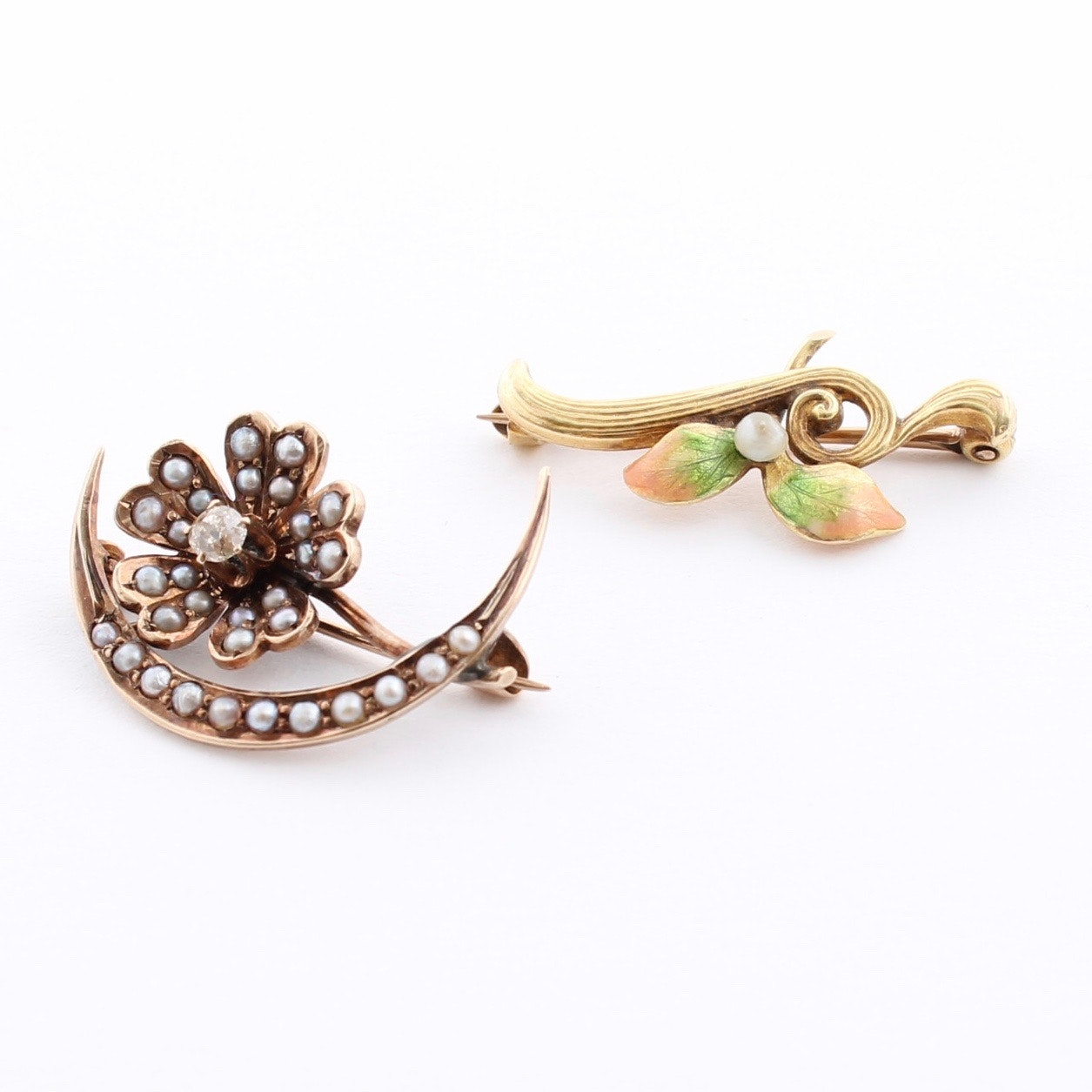 Pair of 14K Yellow Gold Brooches