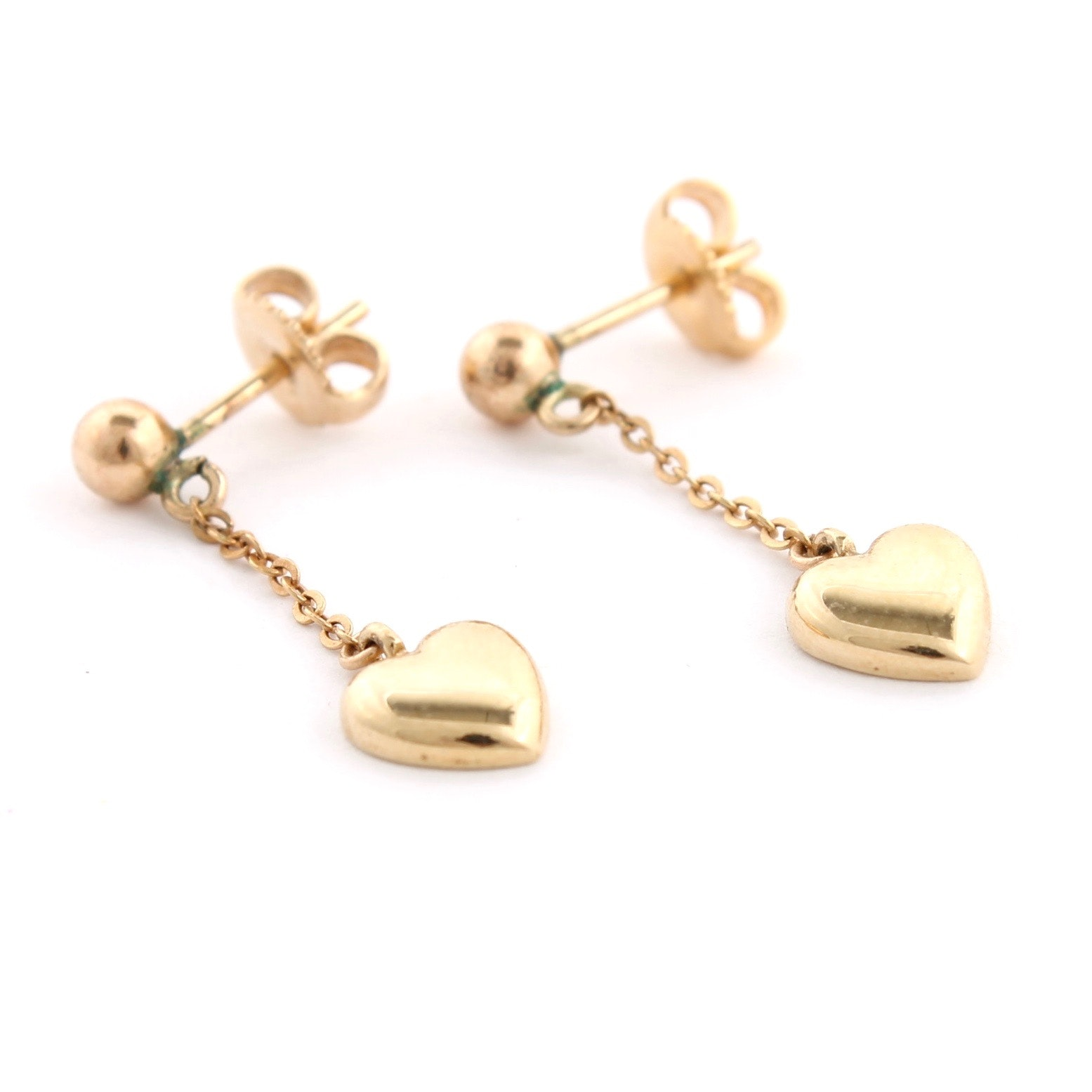 14K Yellow Gold Heart Drop Earrings
