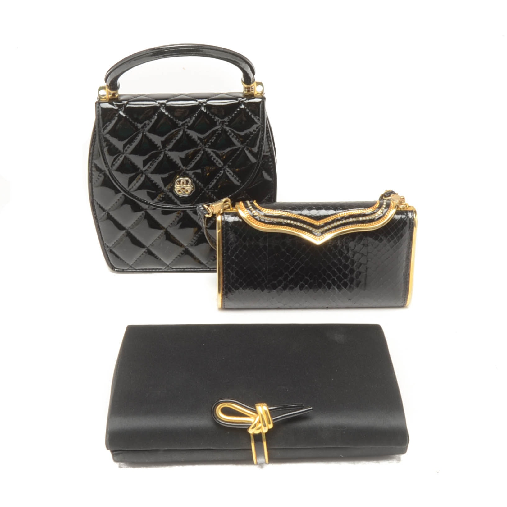 Collection of Vintage Black Evening Clutches Including Franco Bellini