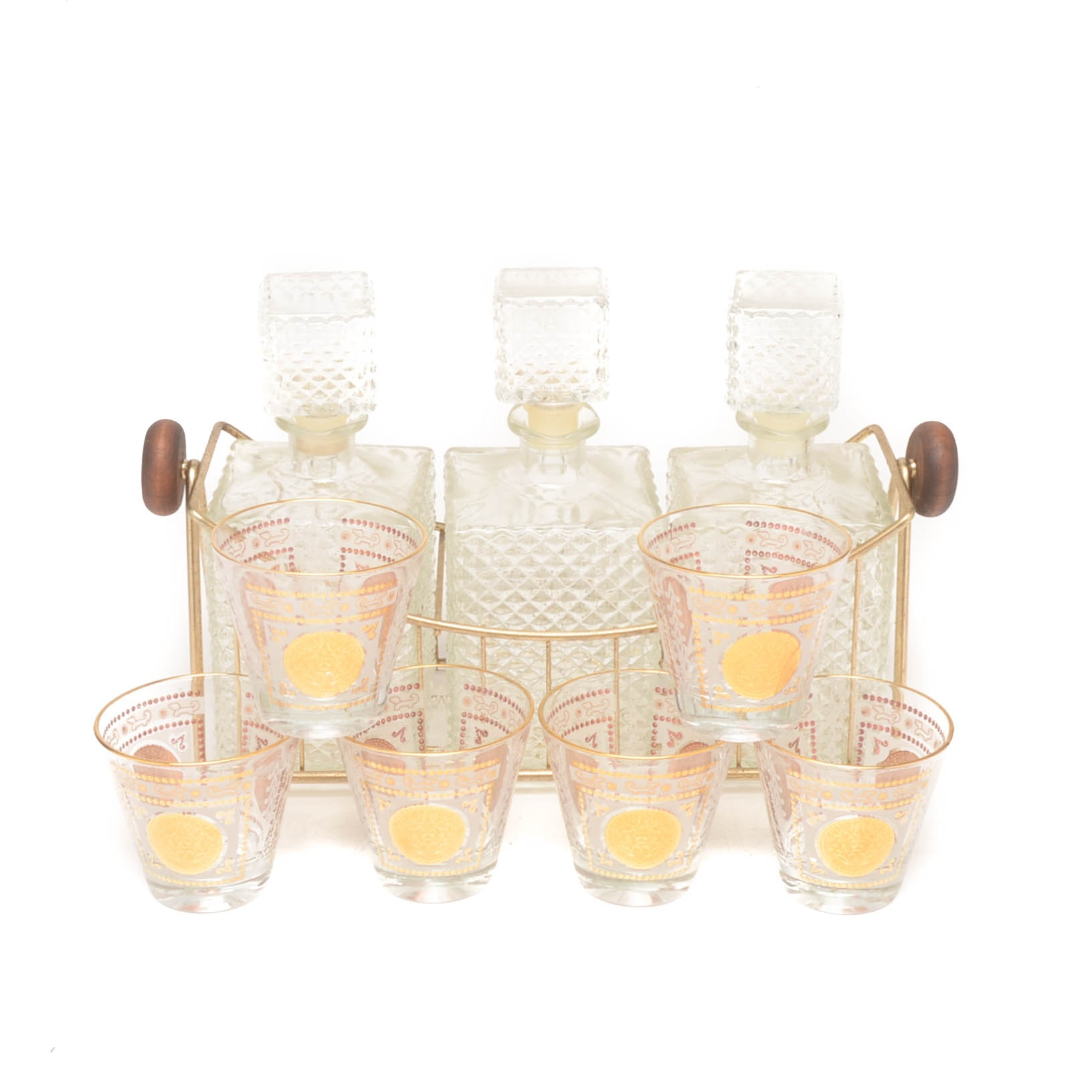 Mid Century Glass Decanter with Caddy and Aztec Themed Cocktail Glasses