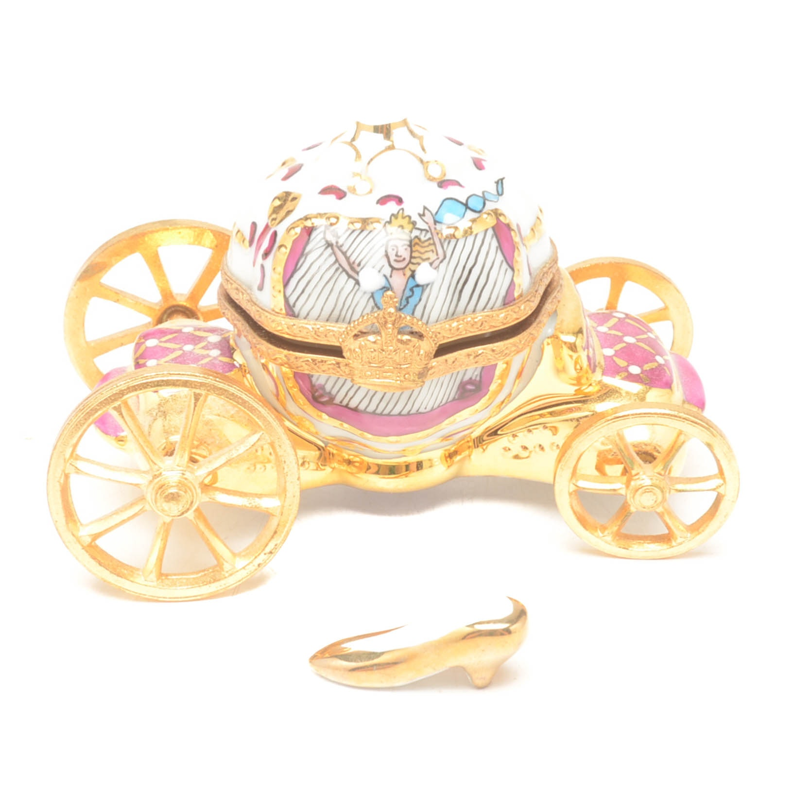 Limoges Cinderella Miniature Carriage With Slipper Pill Box