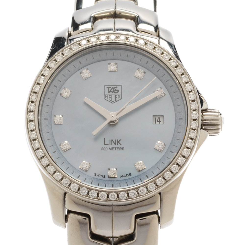"TAG Heuer ""Link"" Diamond, Mother of Pearl, Quartz Stainless Steel Wristwatch"
